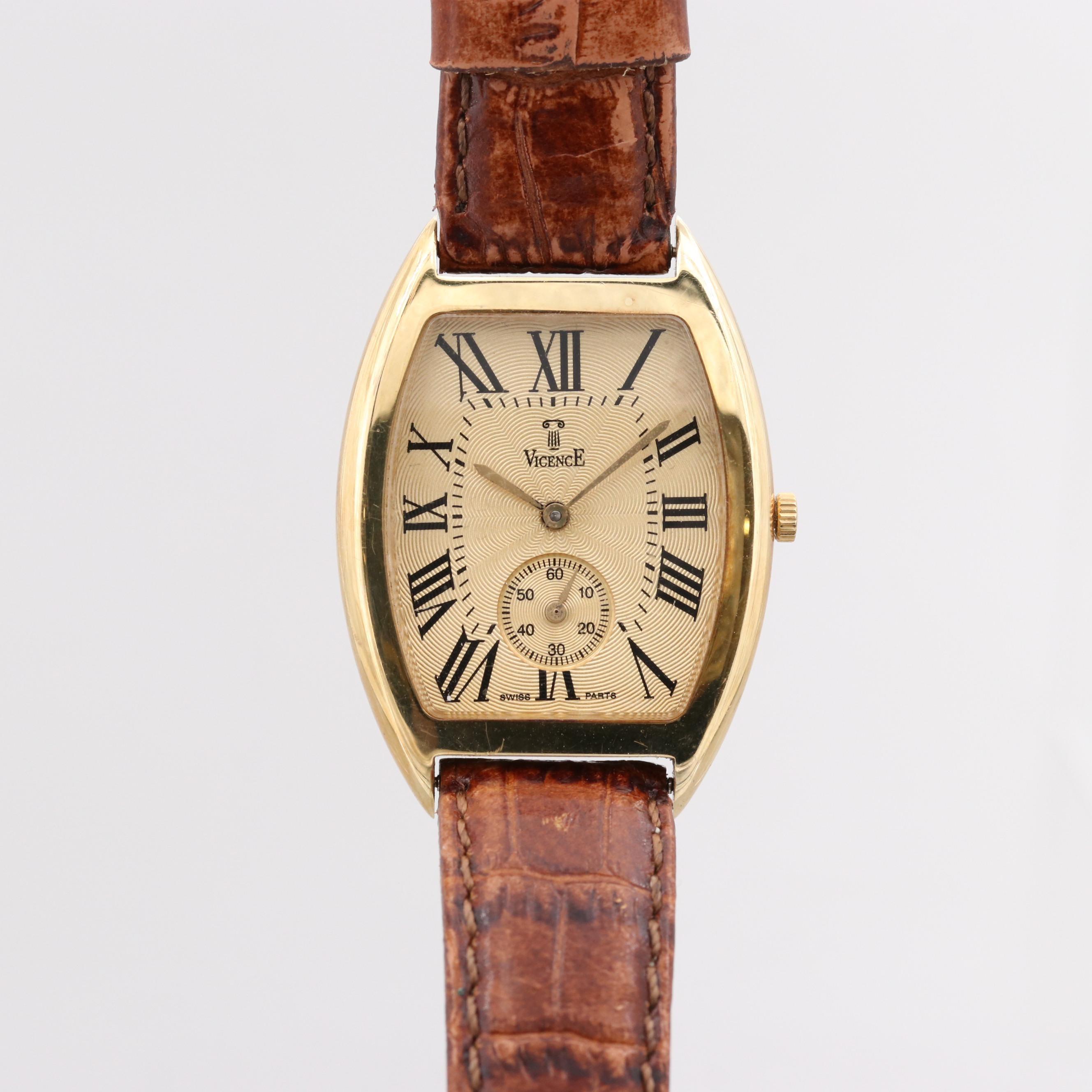 Vintage Vicence 18K Yellow Gold Quartz Wristwatch