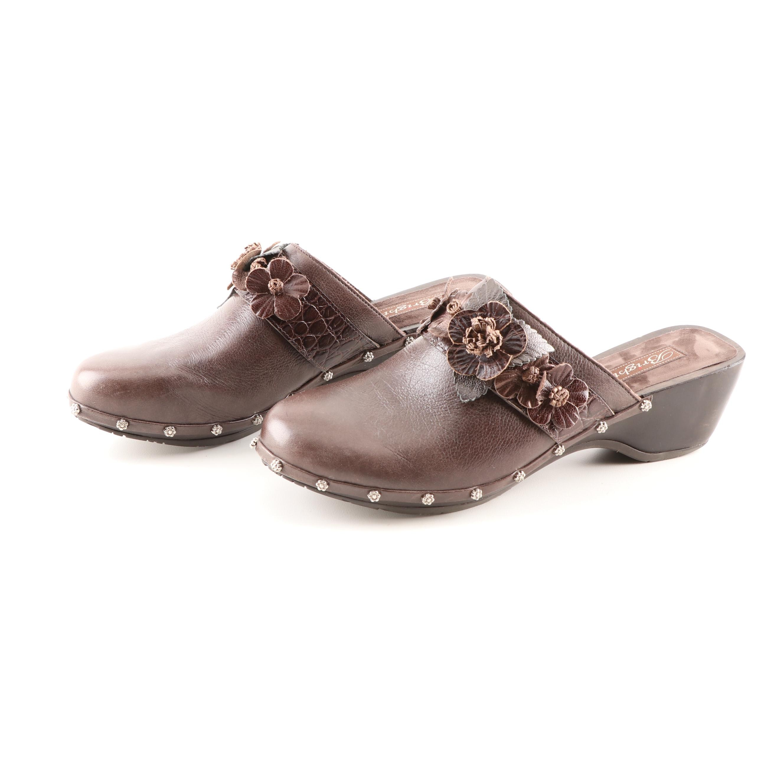 Women's Brighton Dutch Leather Clogs with Floral Embellishments