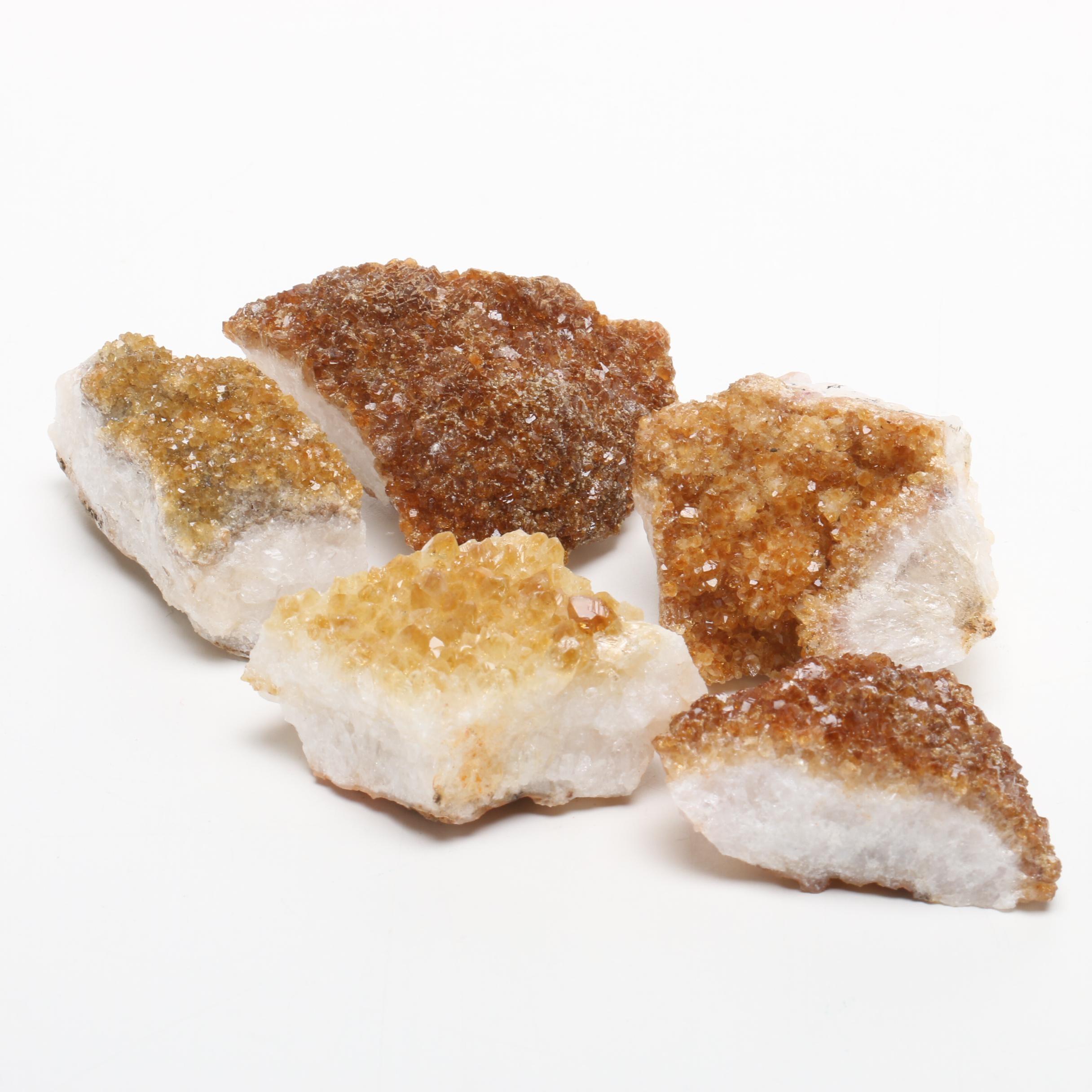 Five Citrine Mineral Specimens