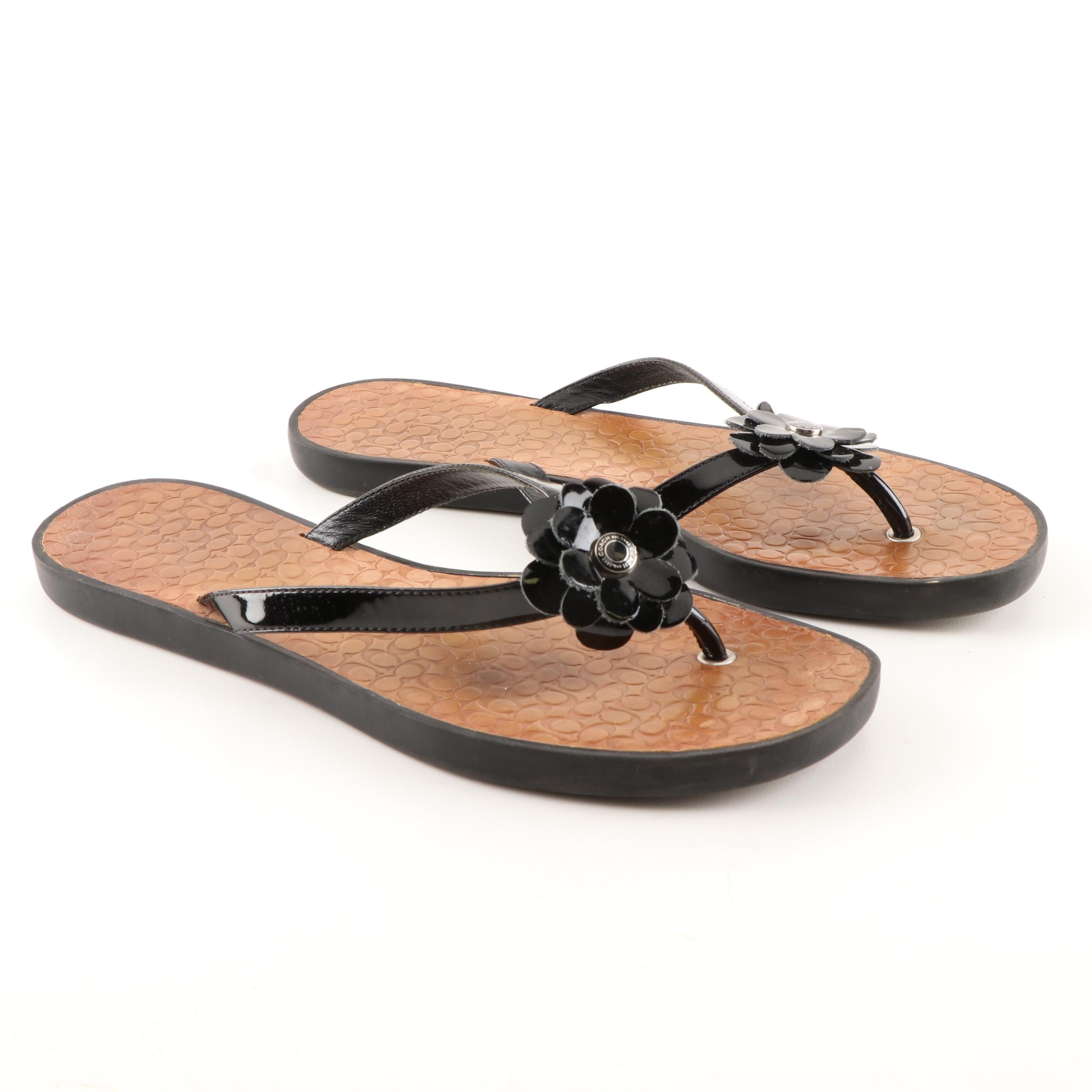 Coach Lindy Black Patent Leather Flip-Flop Thong Sandals