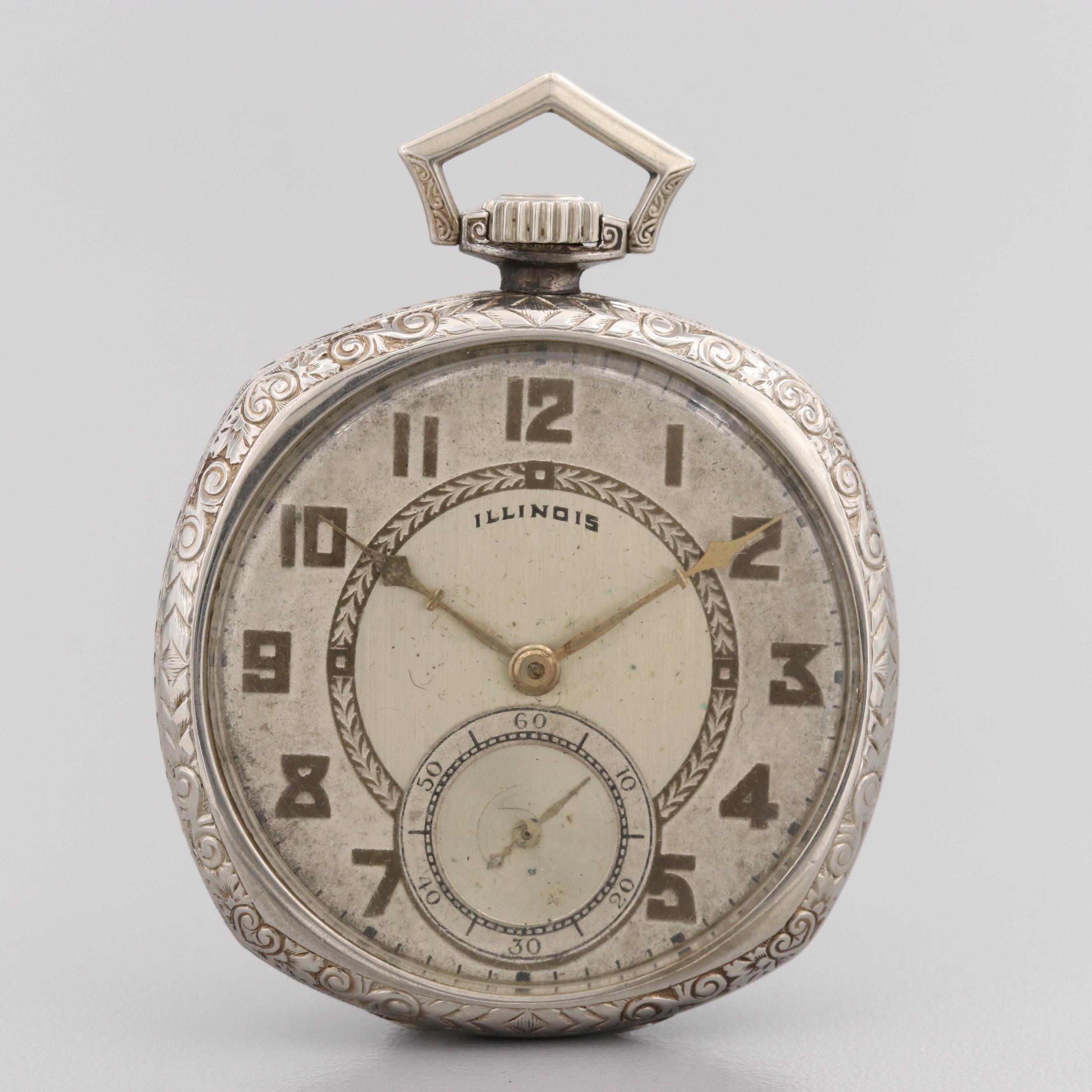 Illinois 14K White Gold Pocket Watch, 1926
