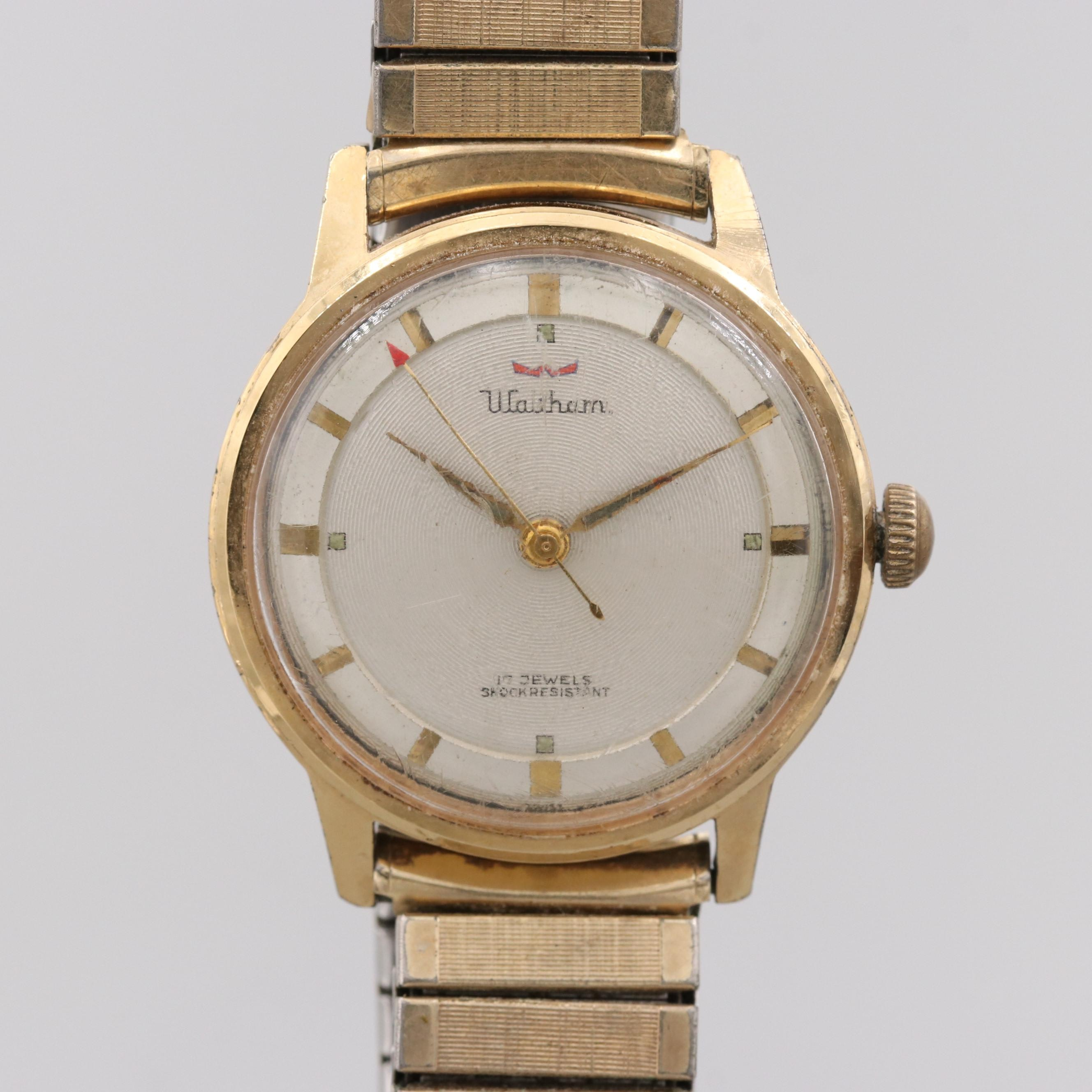 Waltham Gold Electroplated Stainless Steel 17 Jewels Stem Wind Wristwatch