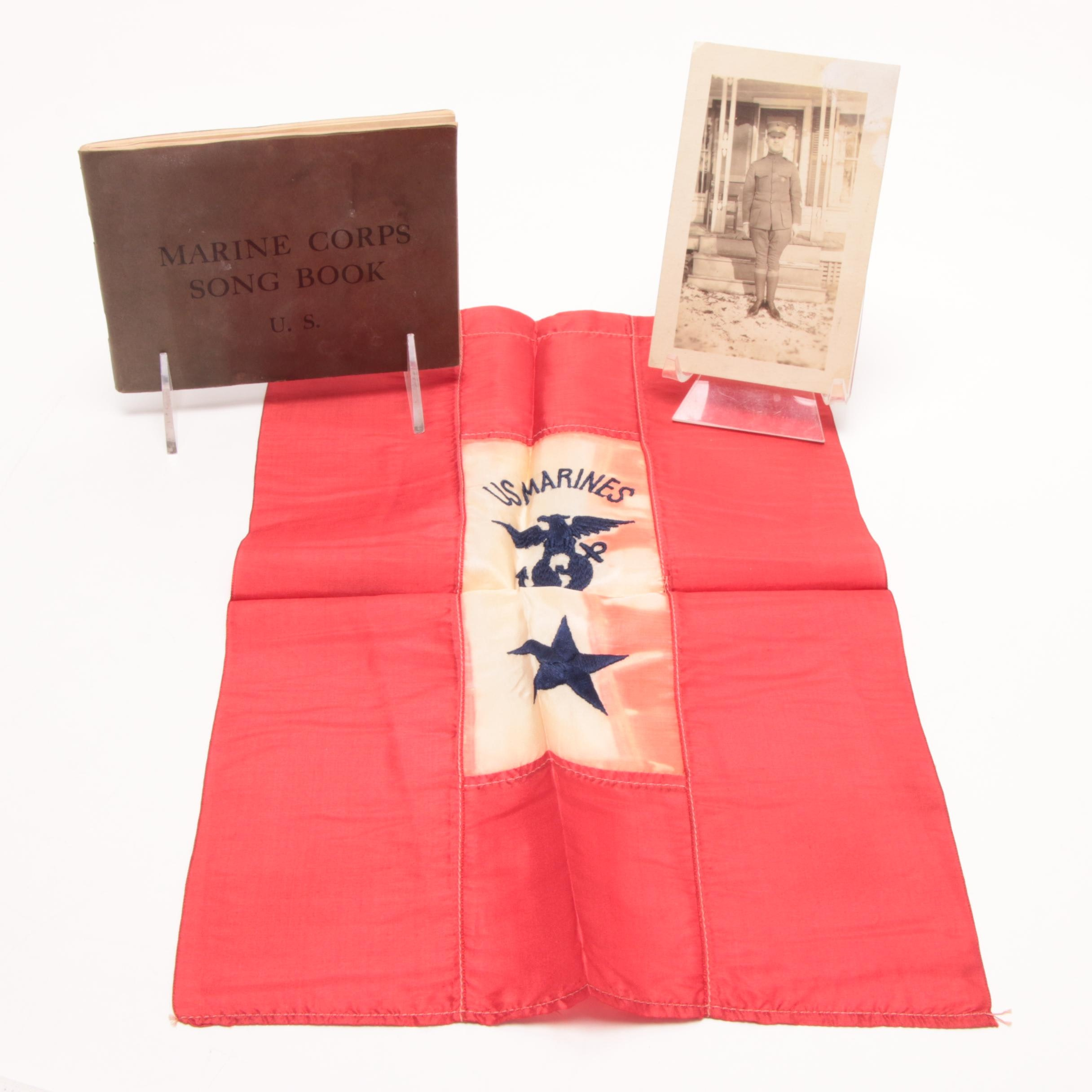 Early US Marine Corps Banner, Song Book and Photo