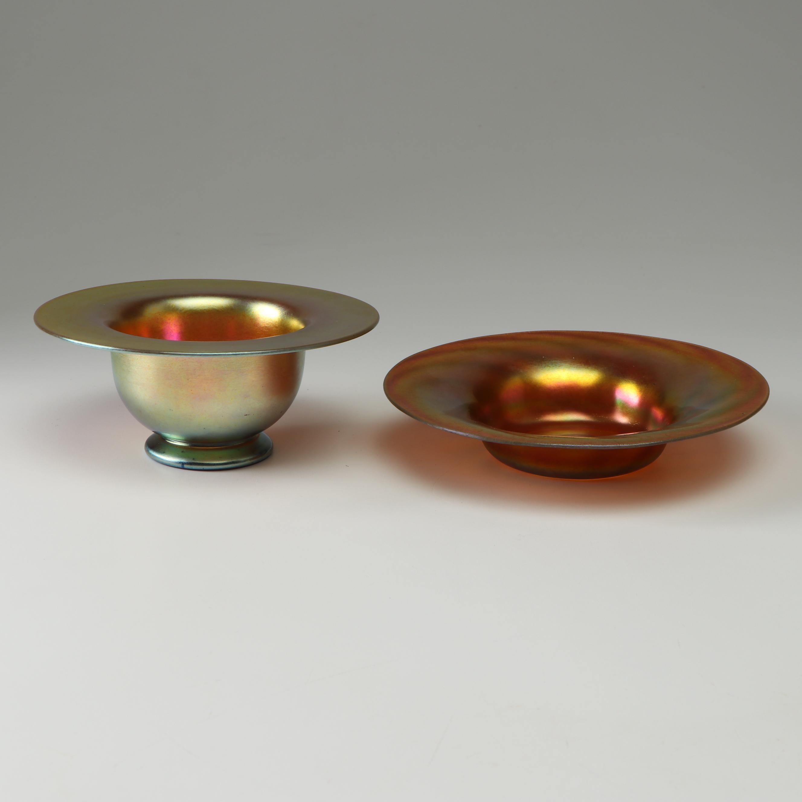 Steuben Gold Aurene Art Glass Bowl and Dish