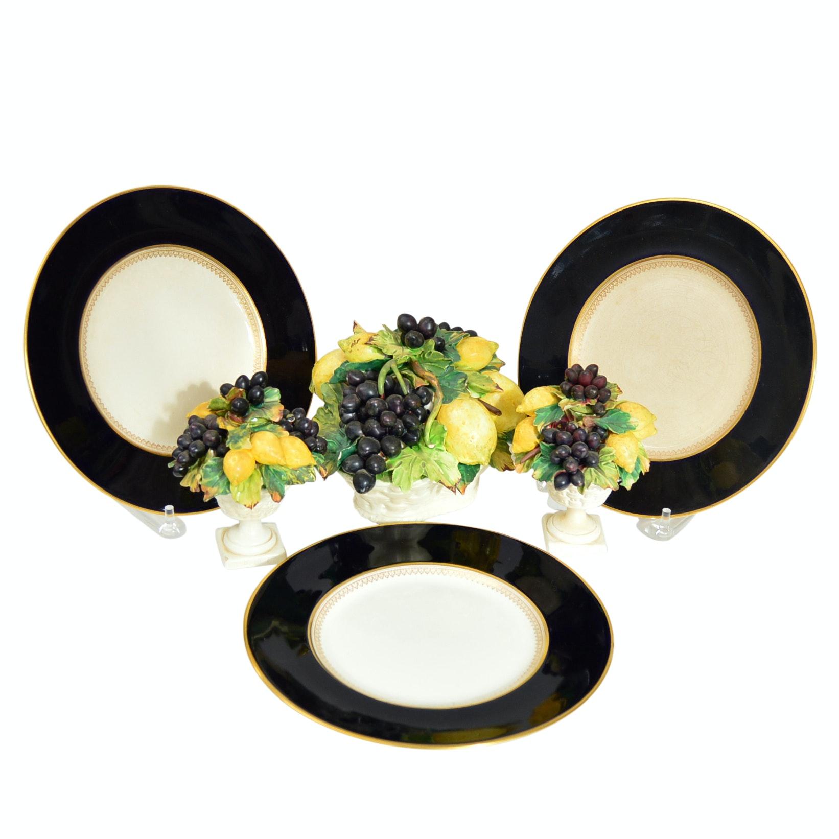 English Fondeville Bone China Plates and Italian Porcelain Centerpiece Set