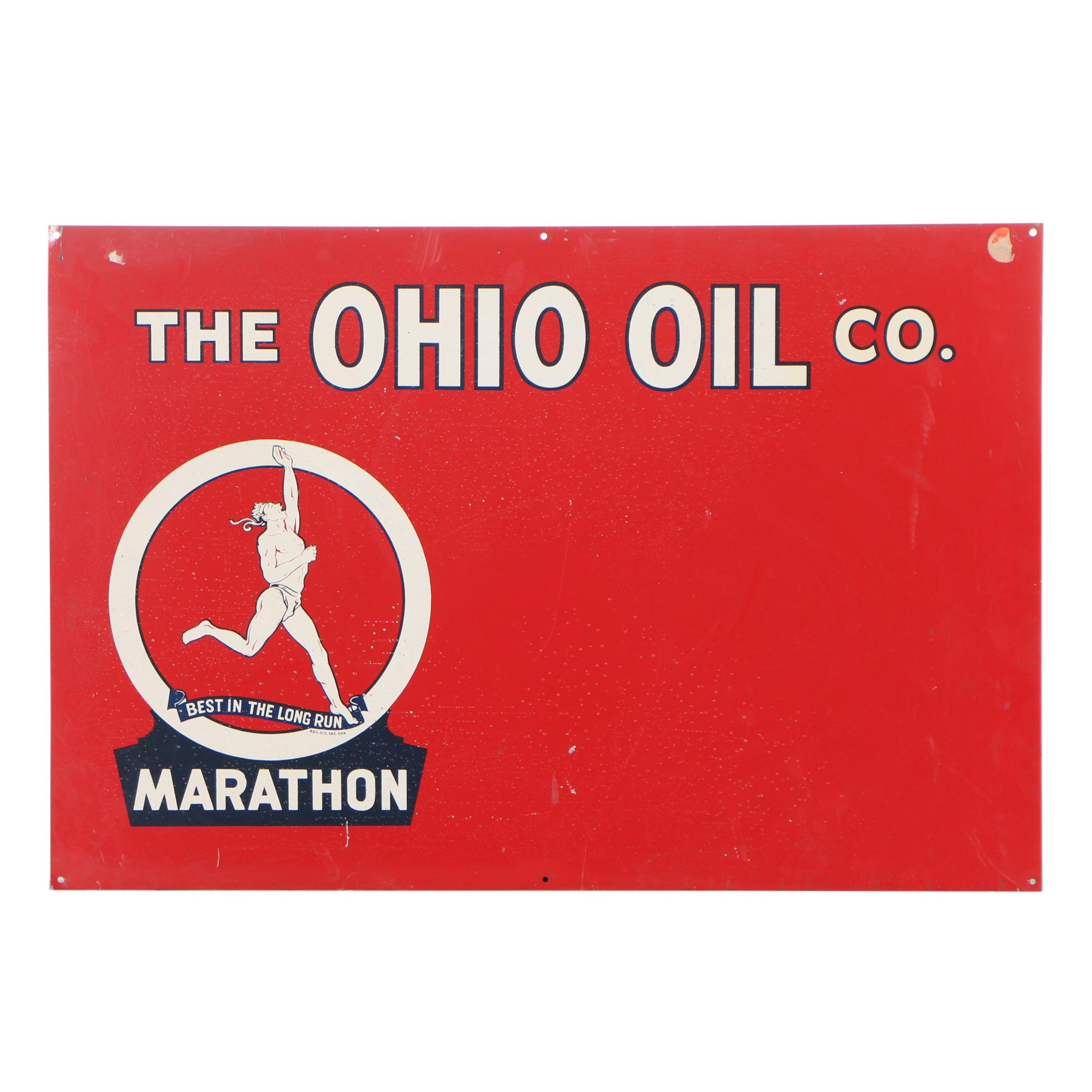 Ohio Oil Company Marathon Brand Enameled Metal Sign, Early 20th Century