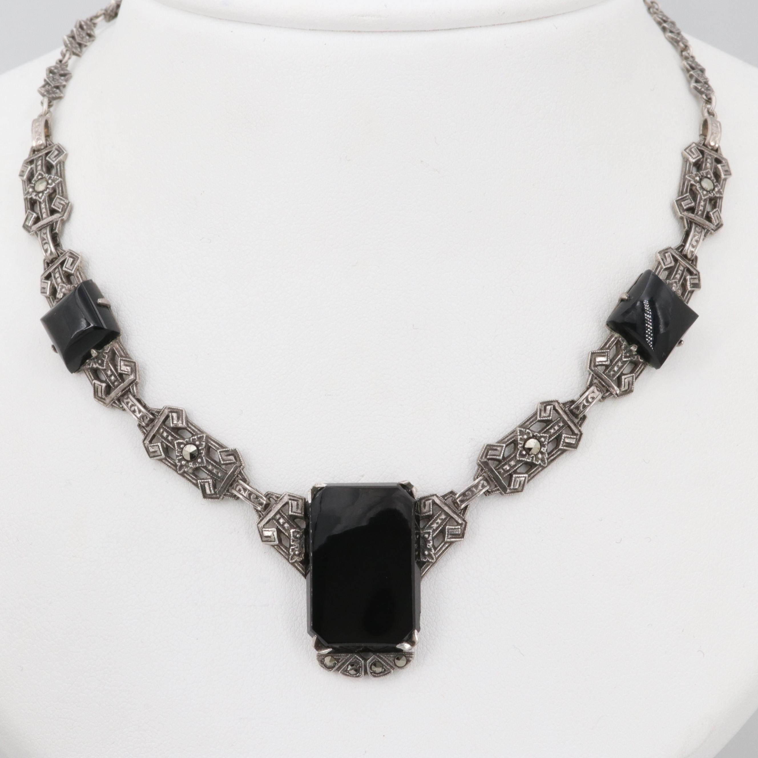 Art Deco Sterling Silver Black Onyx and Marcasite Necklace