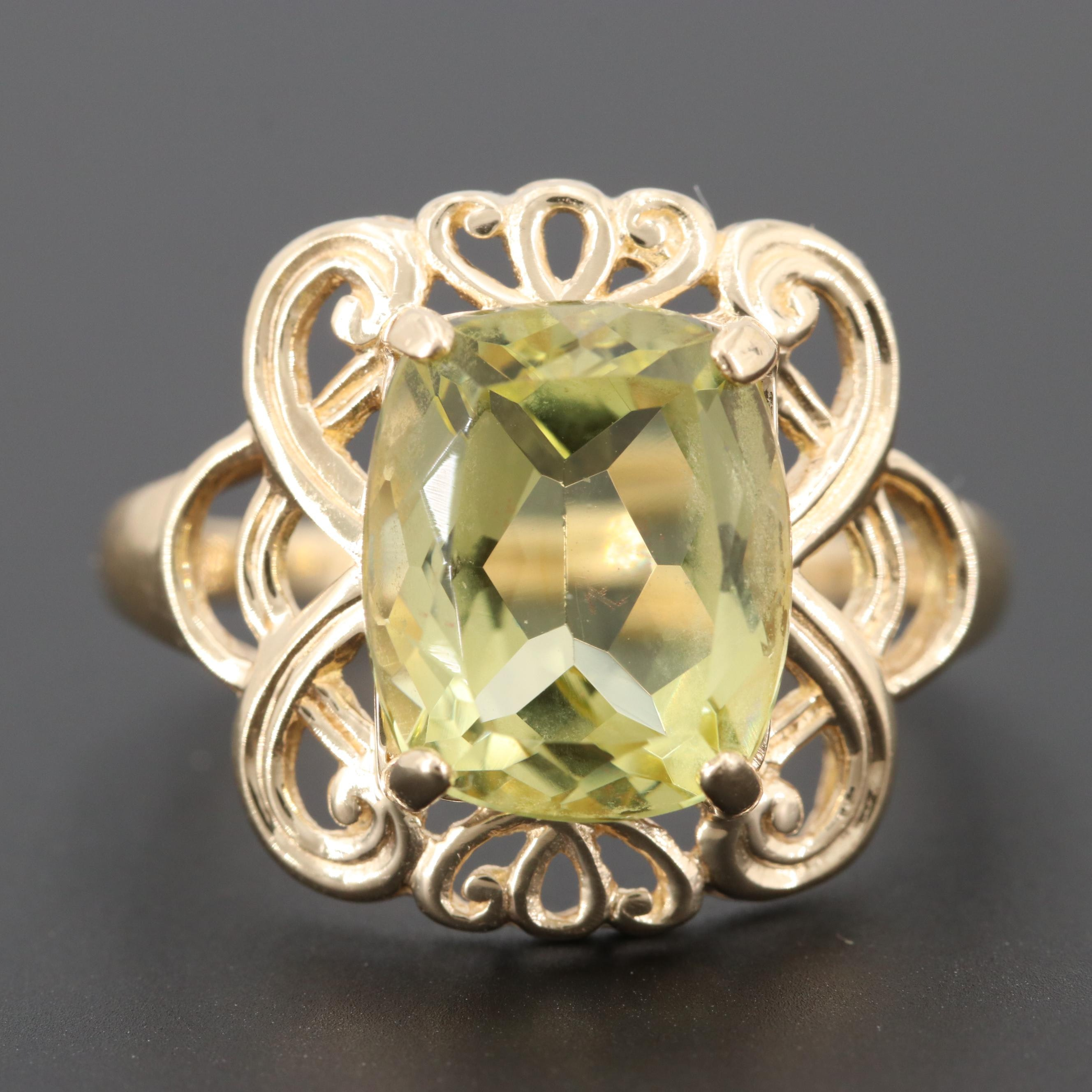 10K Yellow Gold Citrine Scroll Ring