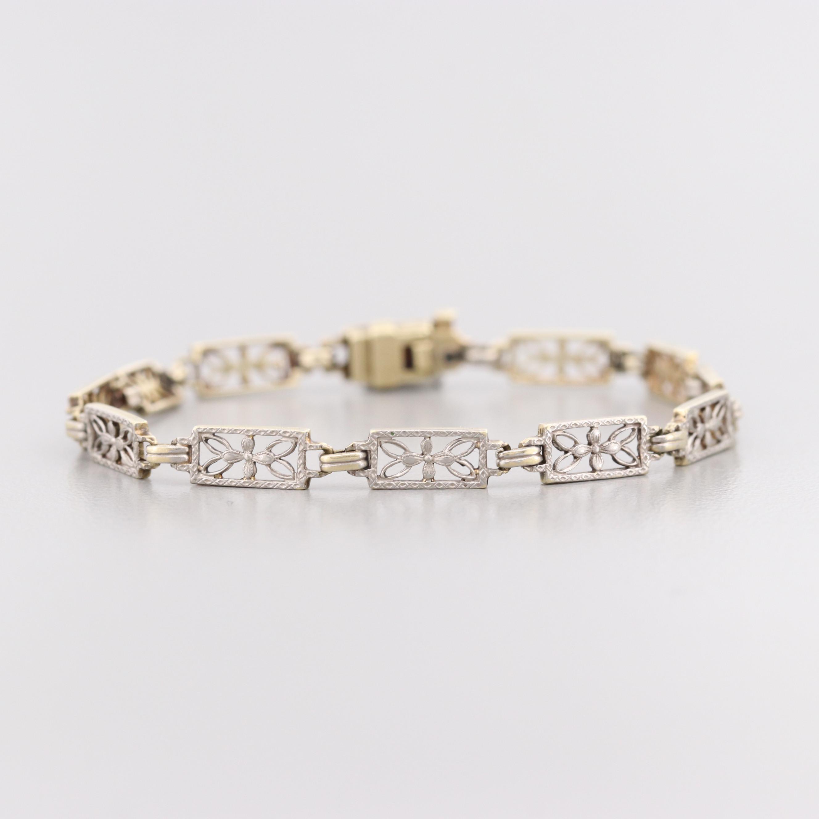 Edwardian 14K Yellow Gold and Platinum Bracelet