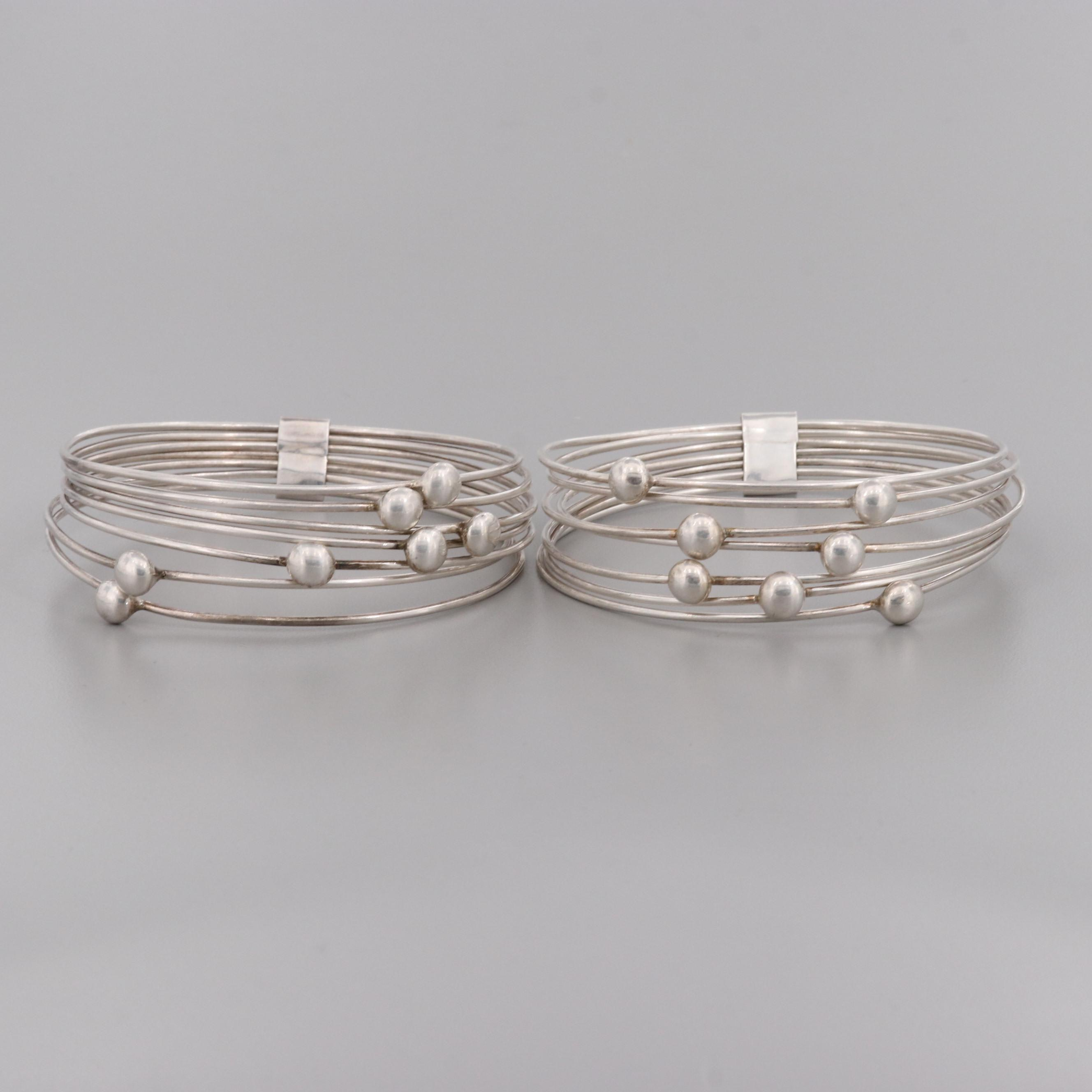 Taxco, Mexico Sterling Silver Banded Bangle Bracelets