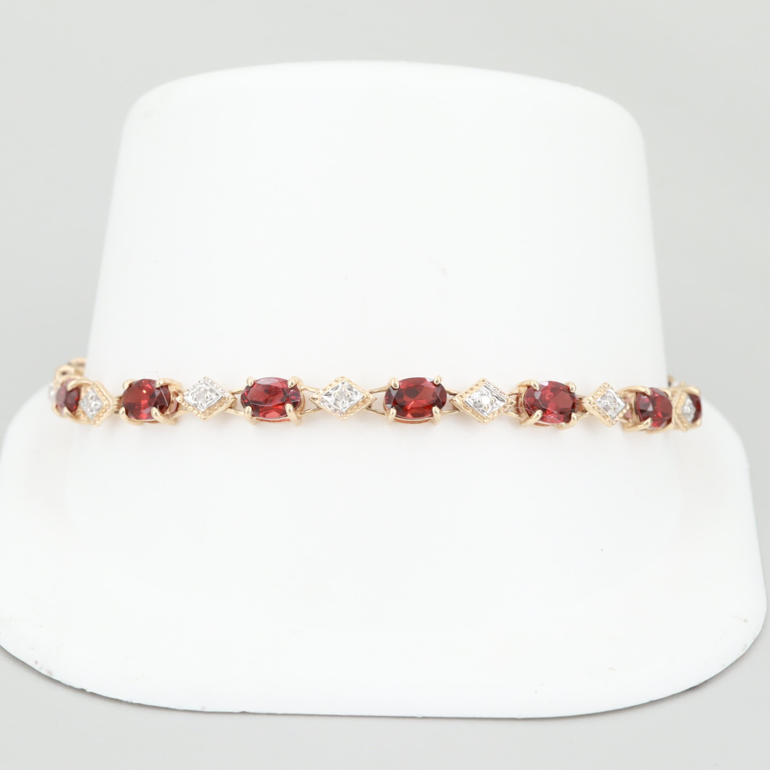 10K Yellow Gold Garnet and Diamond Bracelet with Safety Latch