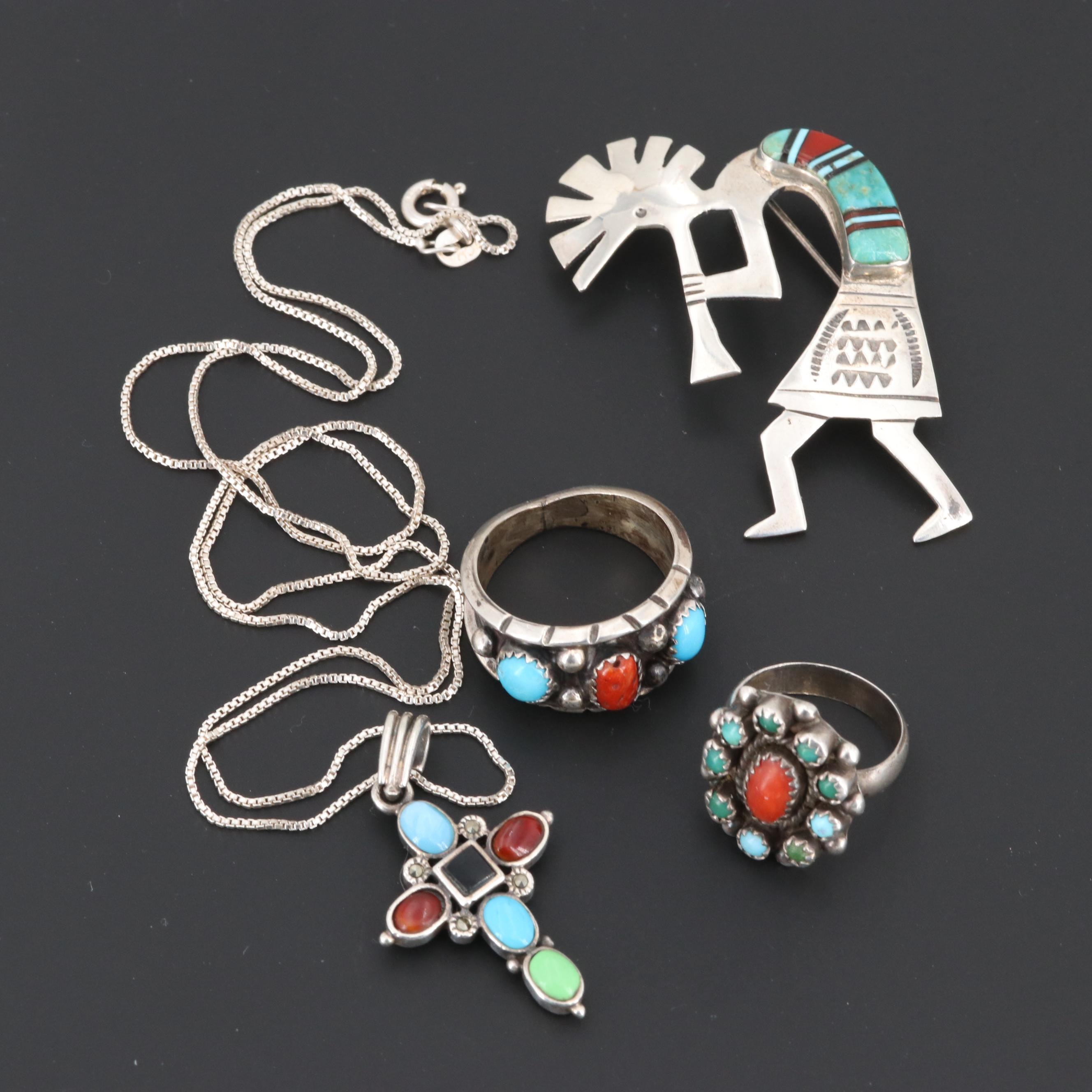 Southwestern Style Sterling Silver Jewelry Including Turquoise and Coral