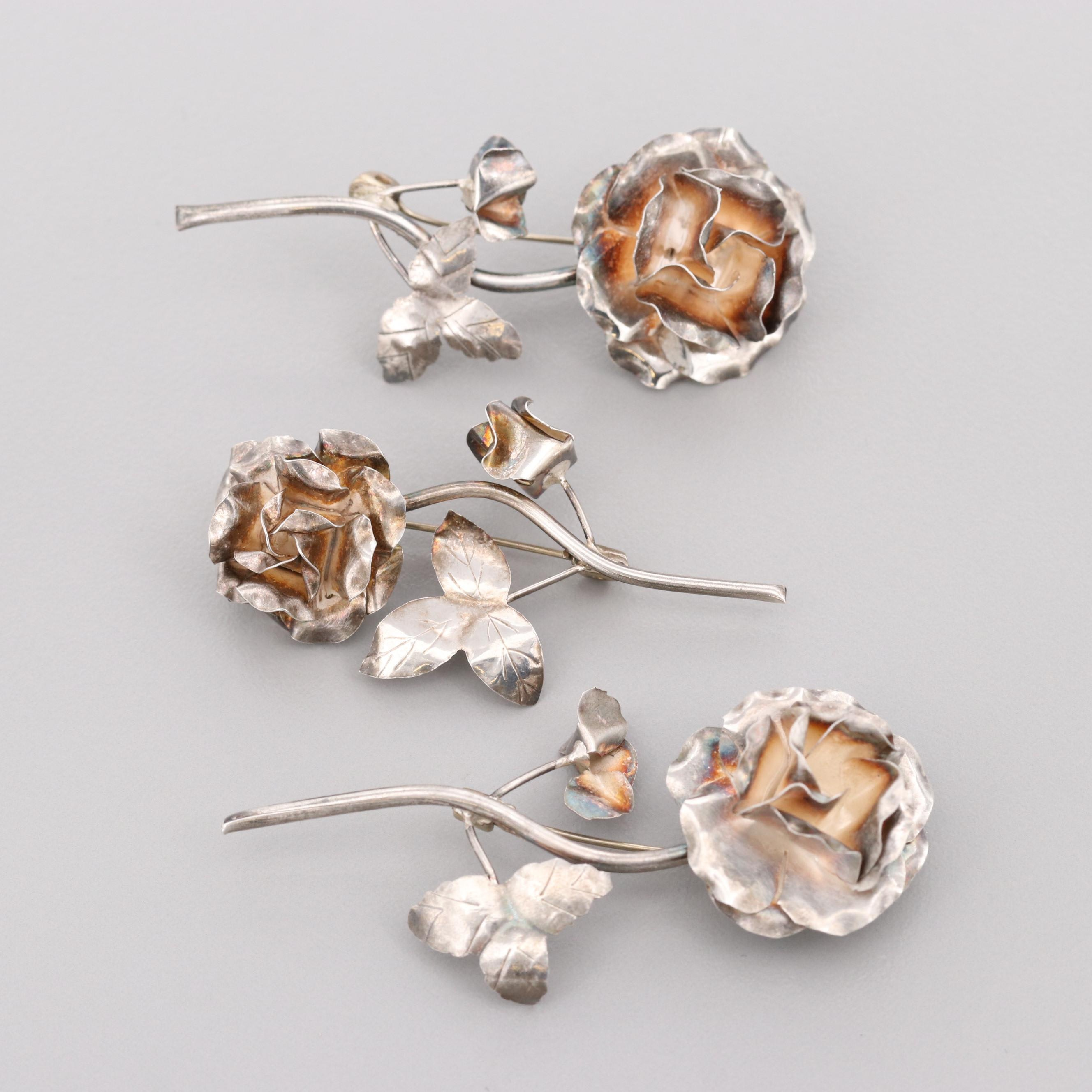 Mexican Sterling Silver Floral Brooches