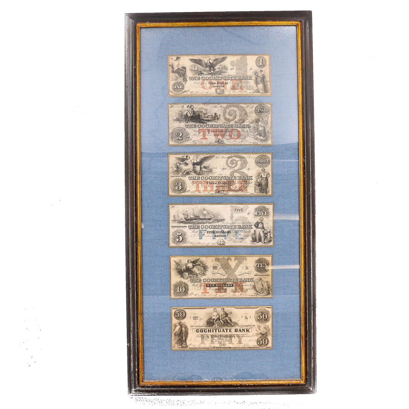 Framed Set of Six Obsolete Cochituate Bank Currency Notes from Boston, 1853