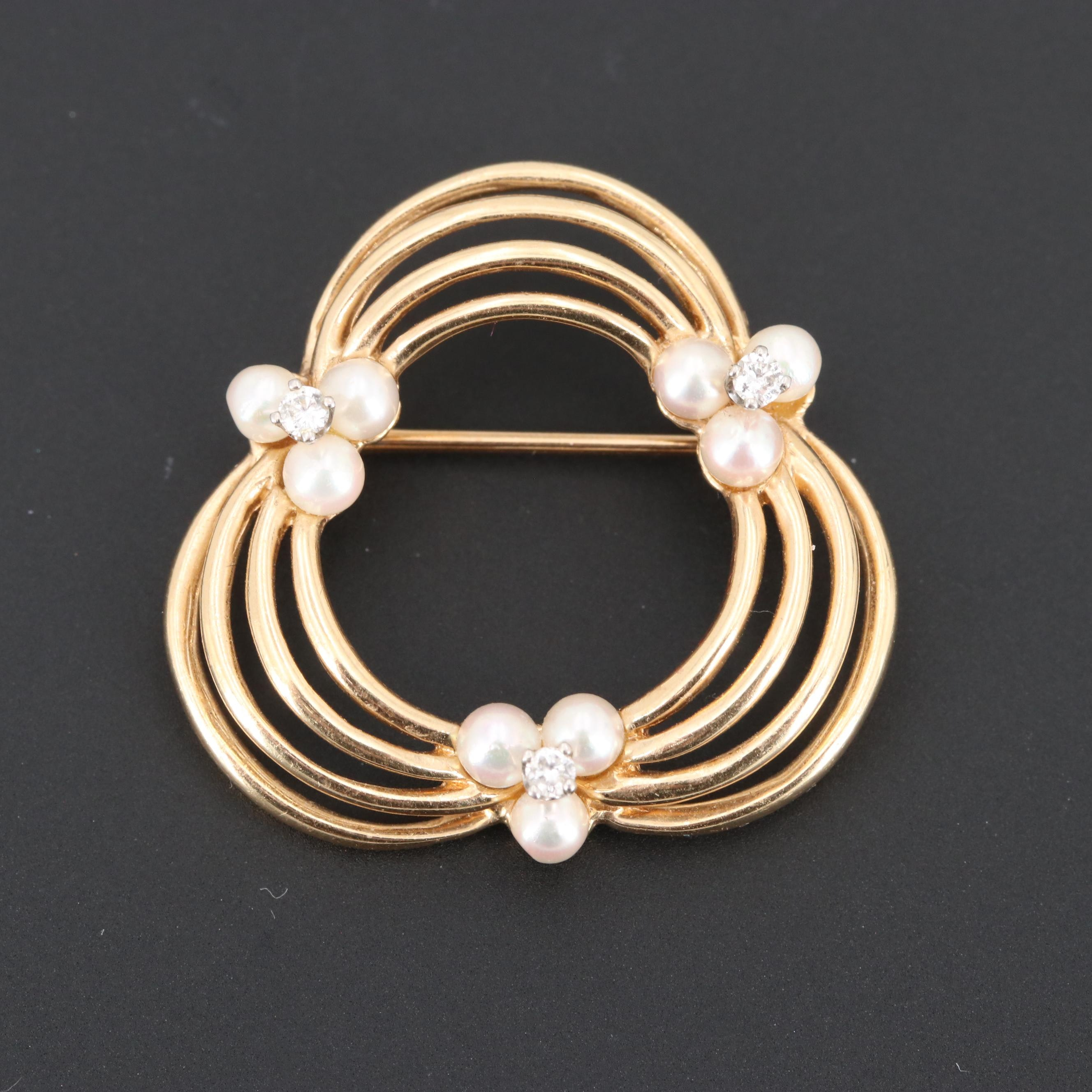 14K Yellow Gold Cultured Pearl and Diamond Brooch