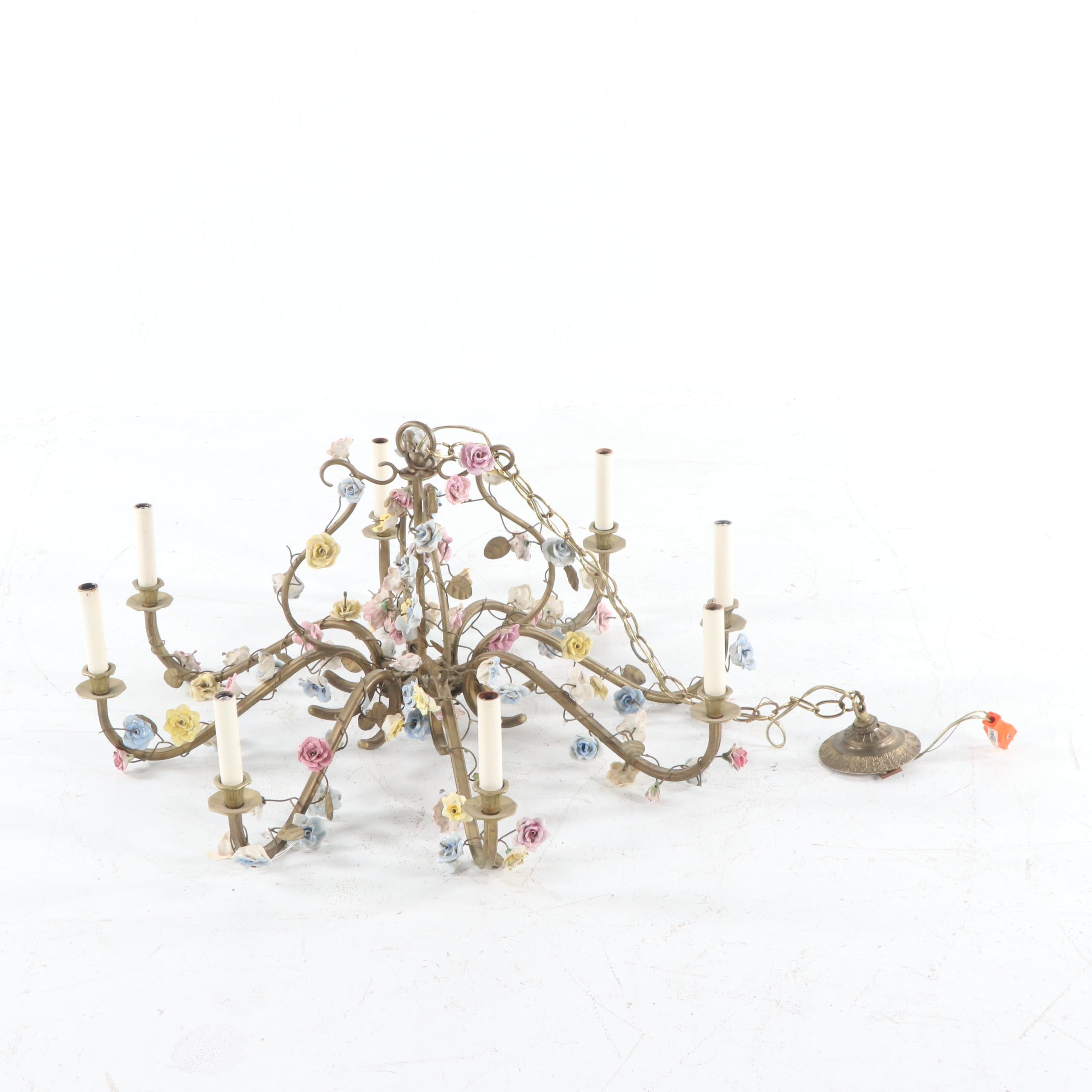 Brass and Porcelain Flower Eight-Light Chandelier, Early to Mid 20th Century