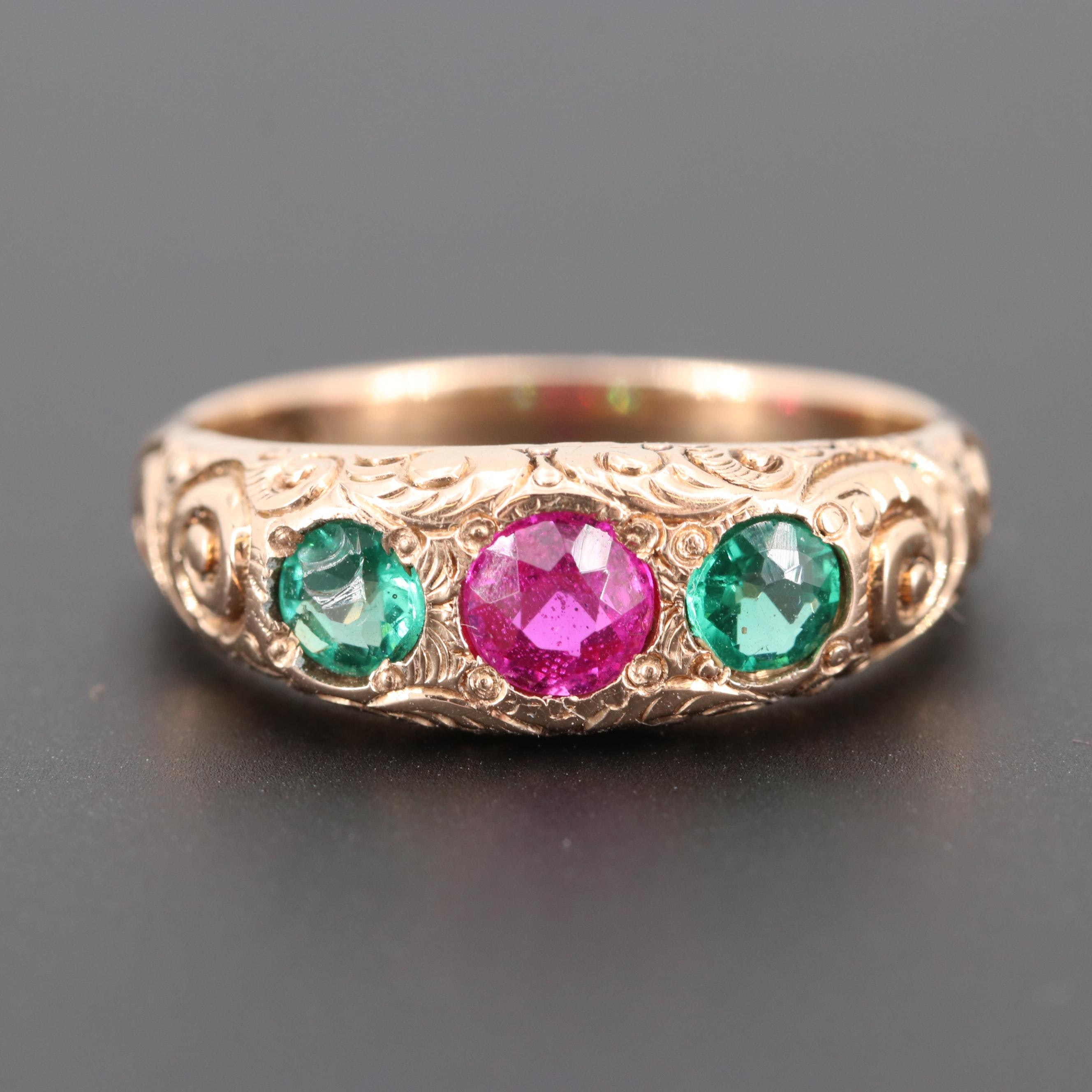 10K Rose Gold Synthetic Ruby and Garnet Glass Doublet Ring