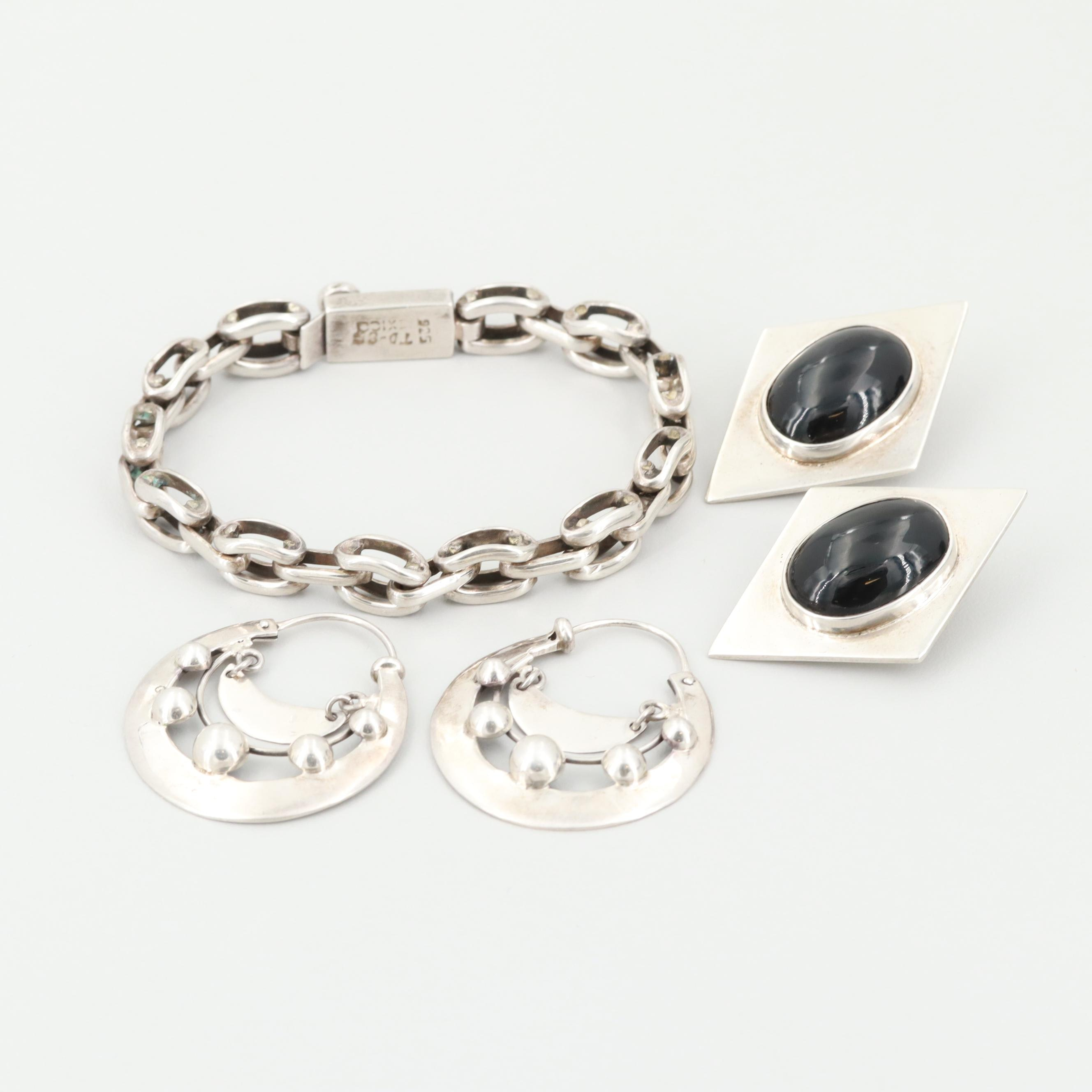 Sterling Silver Earrings and Bracelet Including Taxco and Onyx