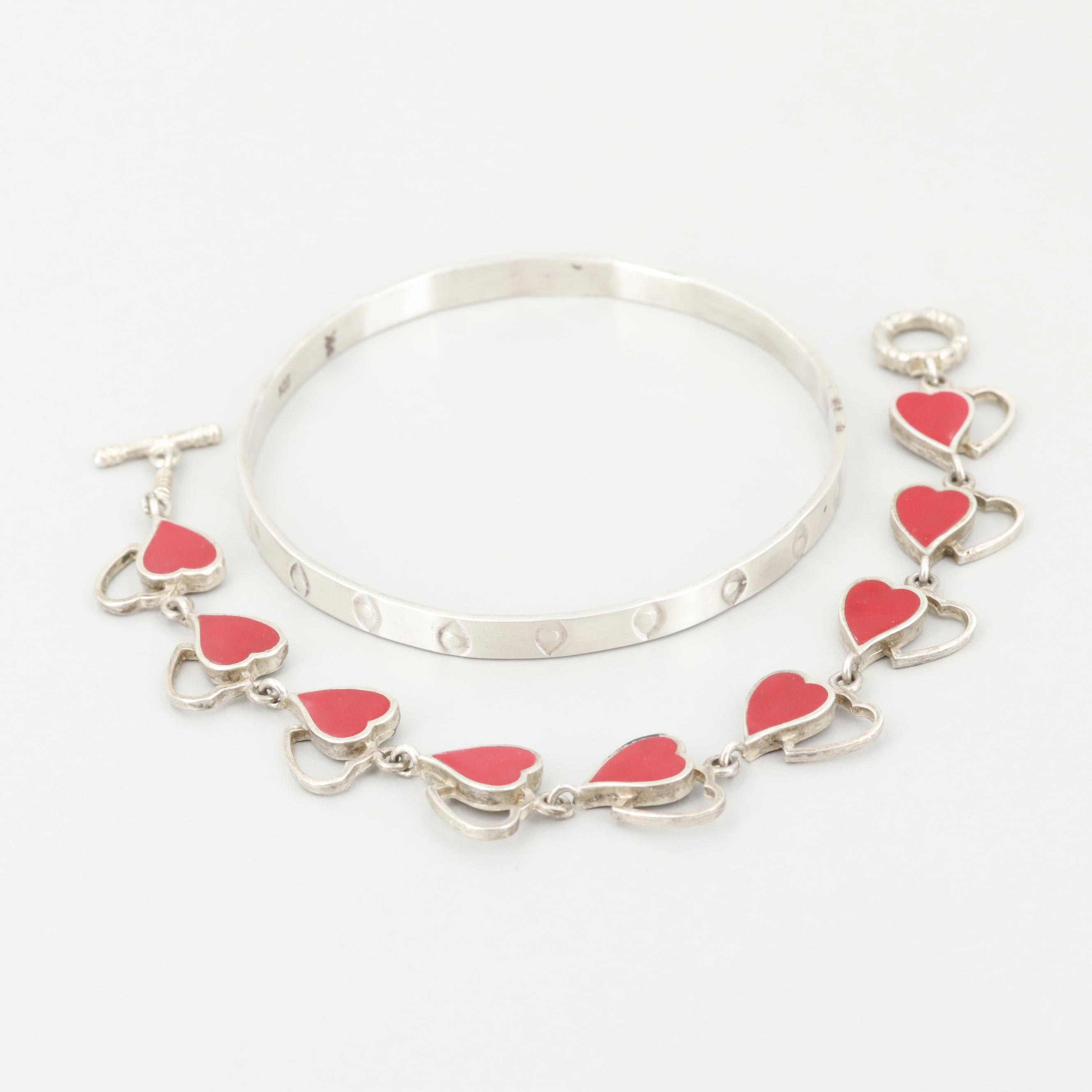 Sterling Silver Bangle Bangle and Mexican Enamel Heart Bracelet