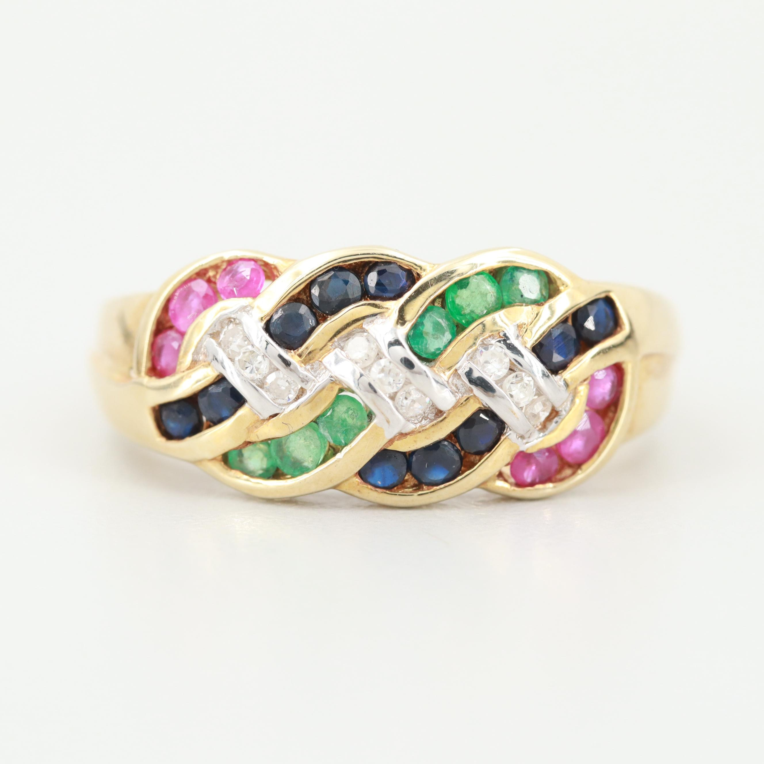 14K Yellow Gold Ruby, Sapphire, Emerald and Diamond Ring