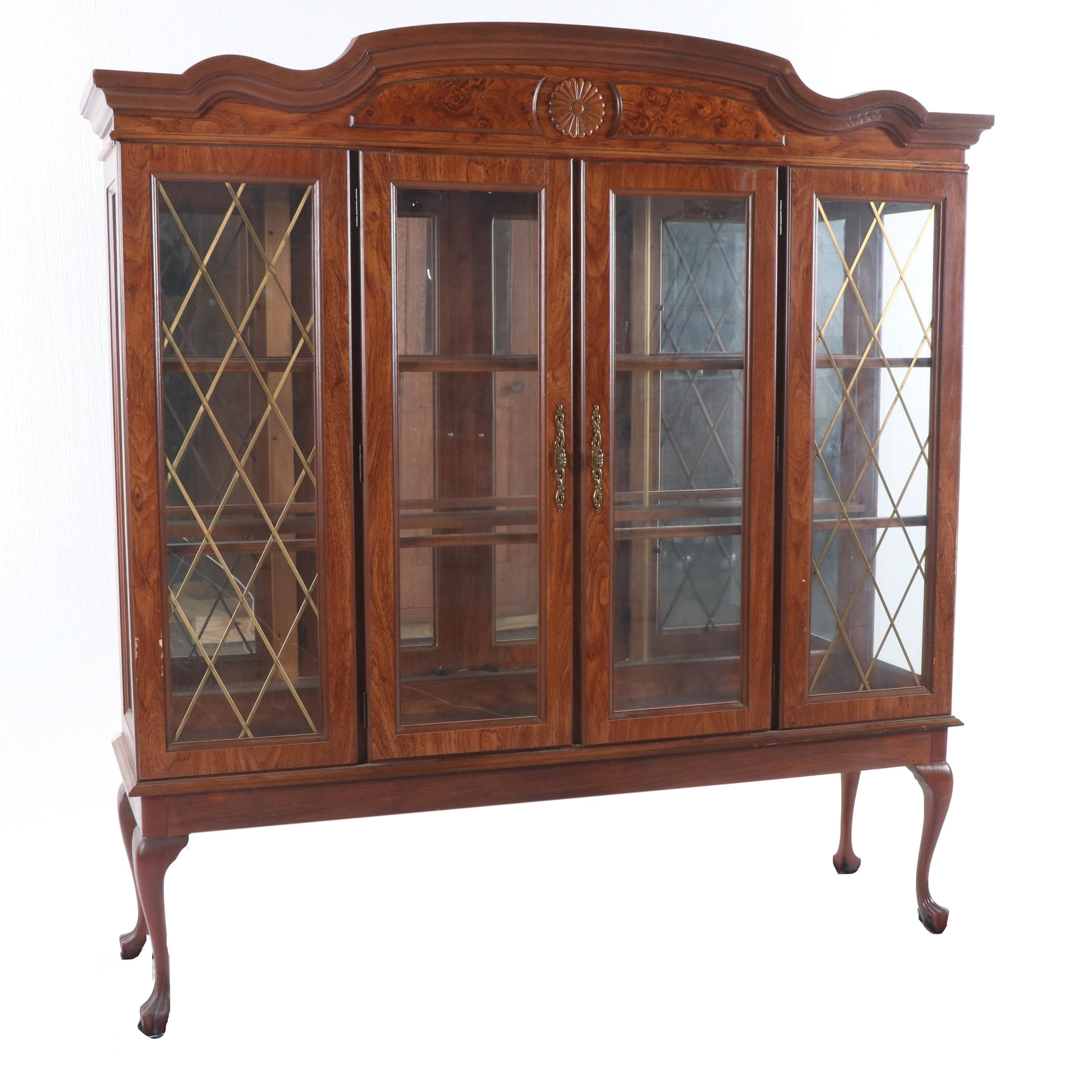 Queen Anne Style Mixed Wood China Cabinet, Late 20th Century