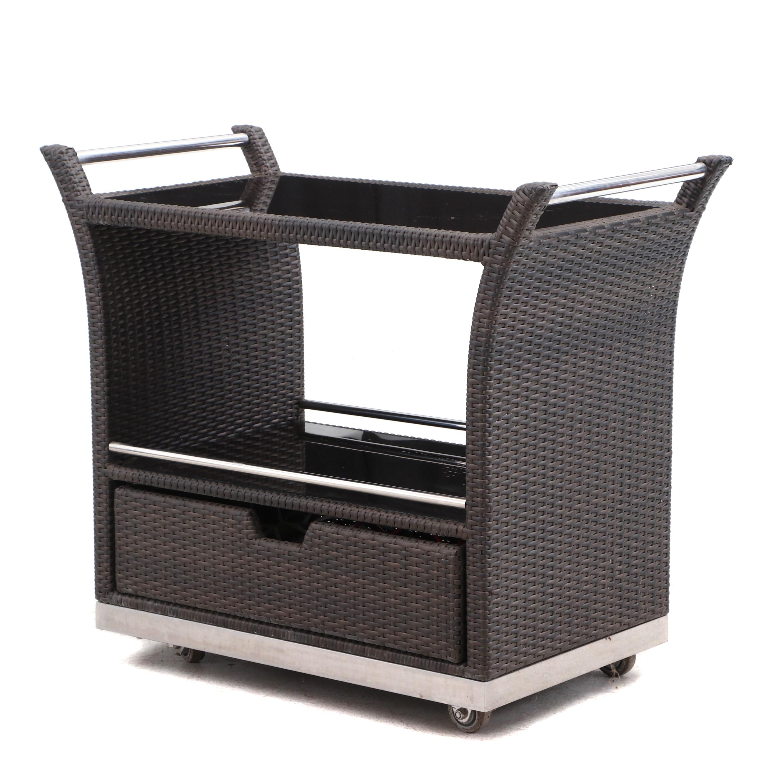 Synthetic Woven Rattan and Glass Bar Cart