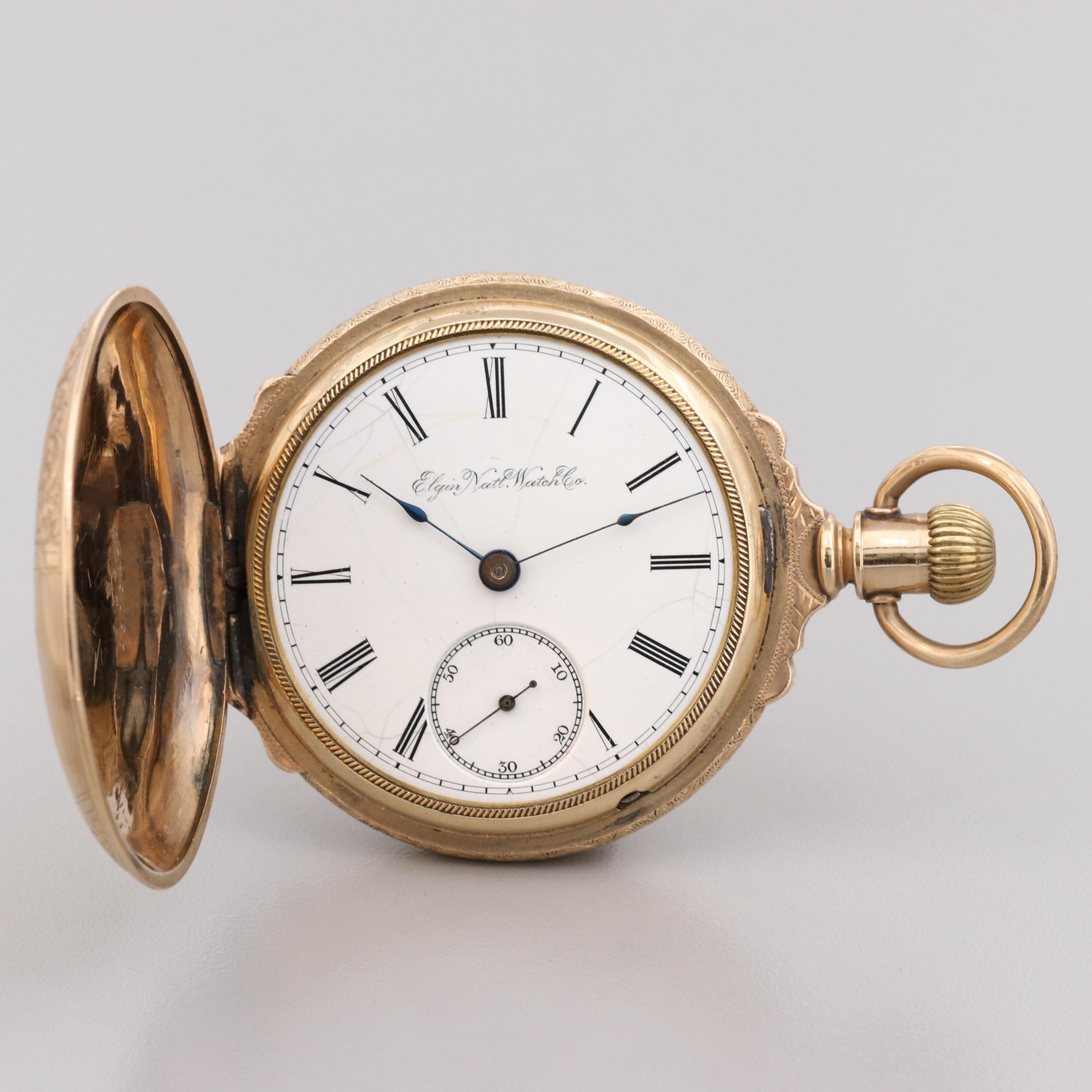 Elgin Gold Filled Box Hinge Pocket Watch, 1890