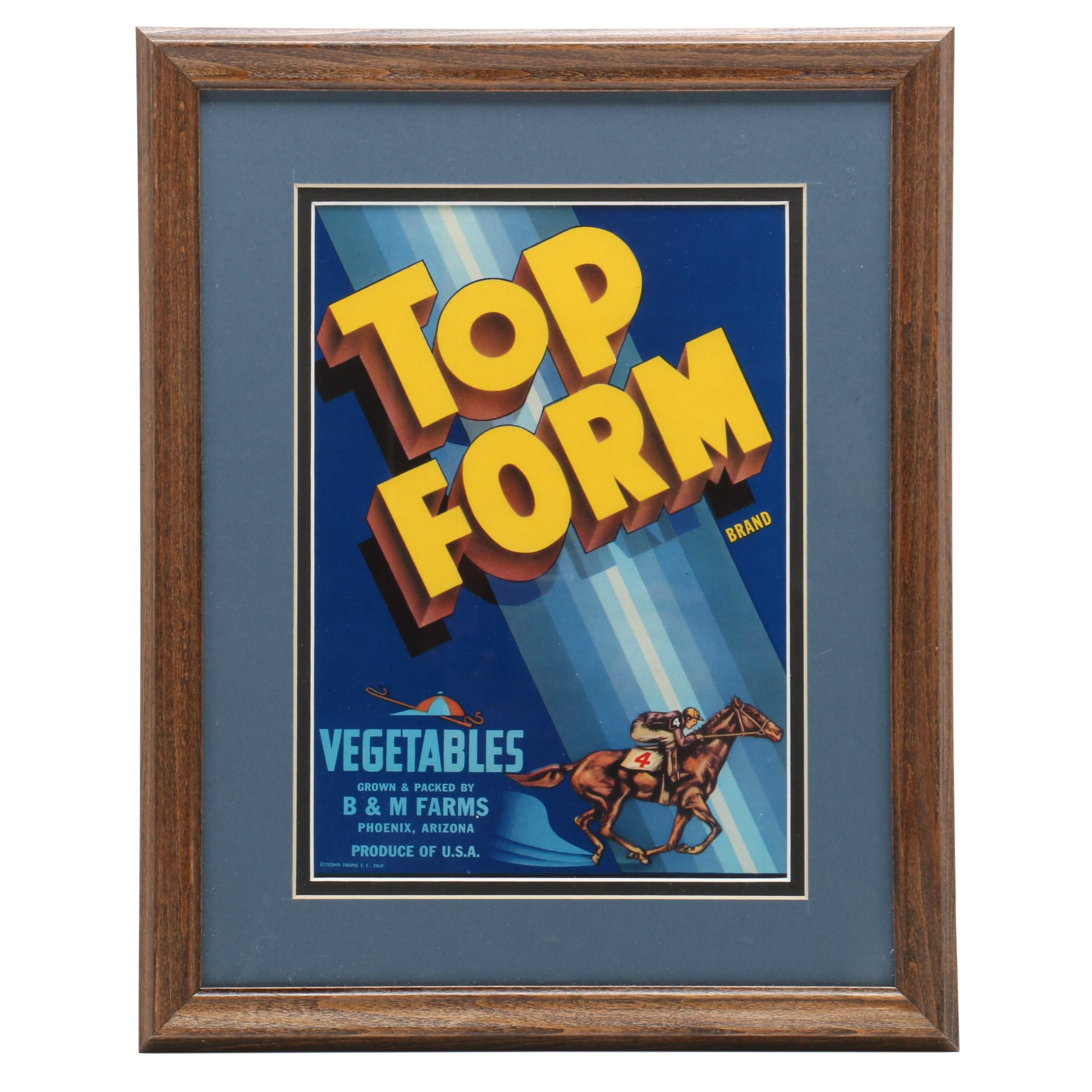 """1940s Crate Label """"Top Form"""""""