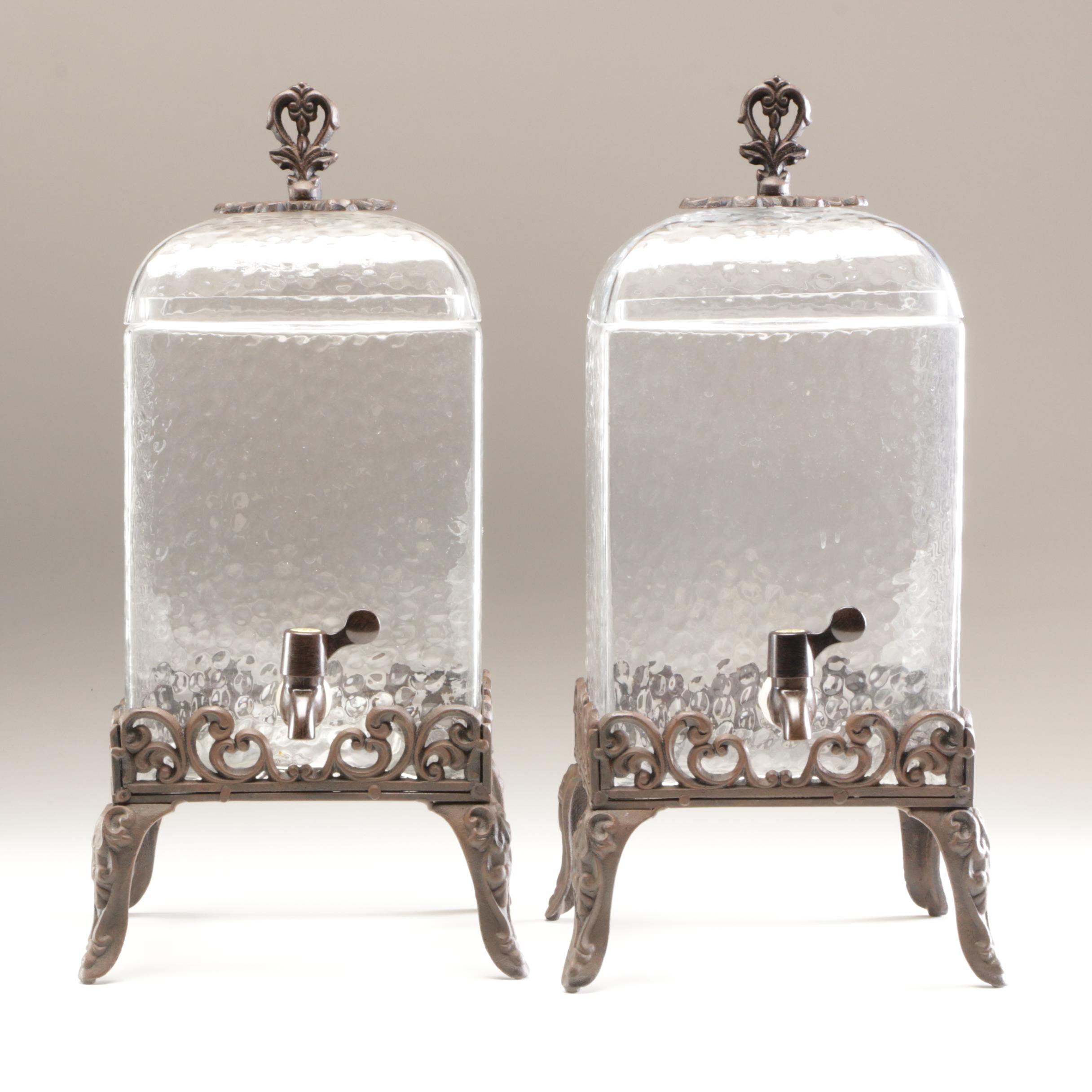 Glass Drink Dispensers with Metal Stands