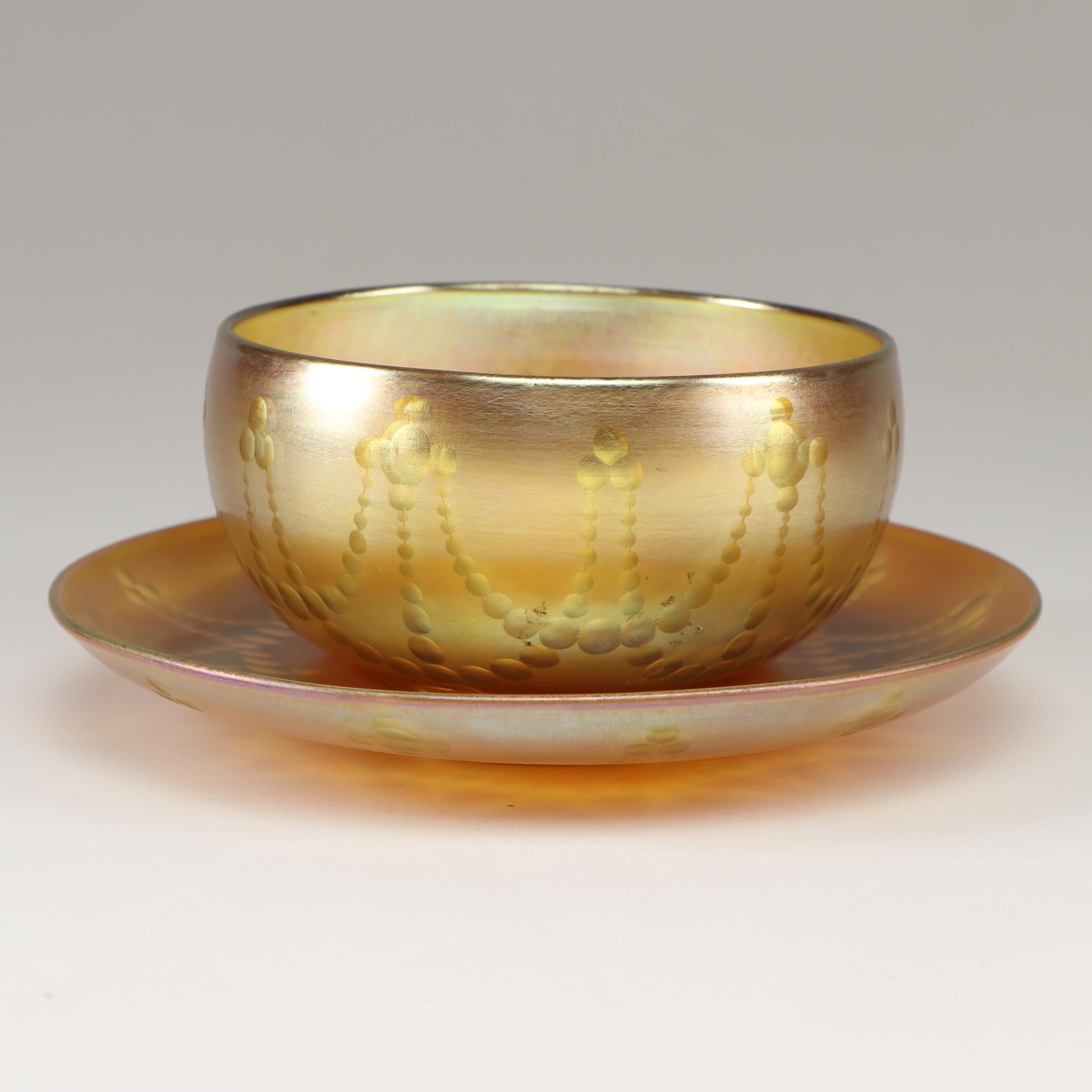 "Tiffany Studios Favrile ""Gold Lustre"" Glass Bowl and Plate, circa 1900"