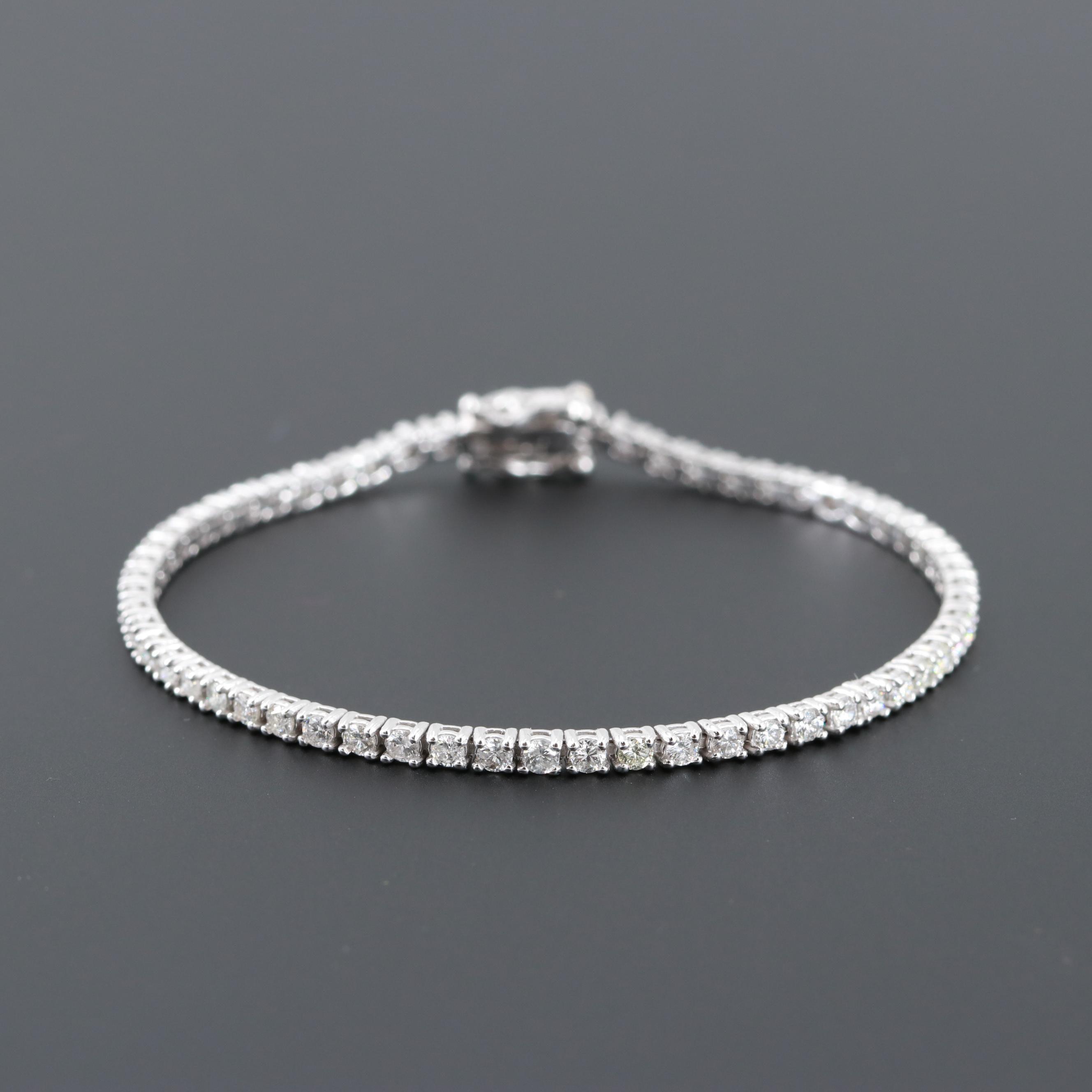 14K White Gold 2.25 CTW Diamond Tennis Bracelet