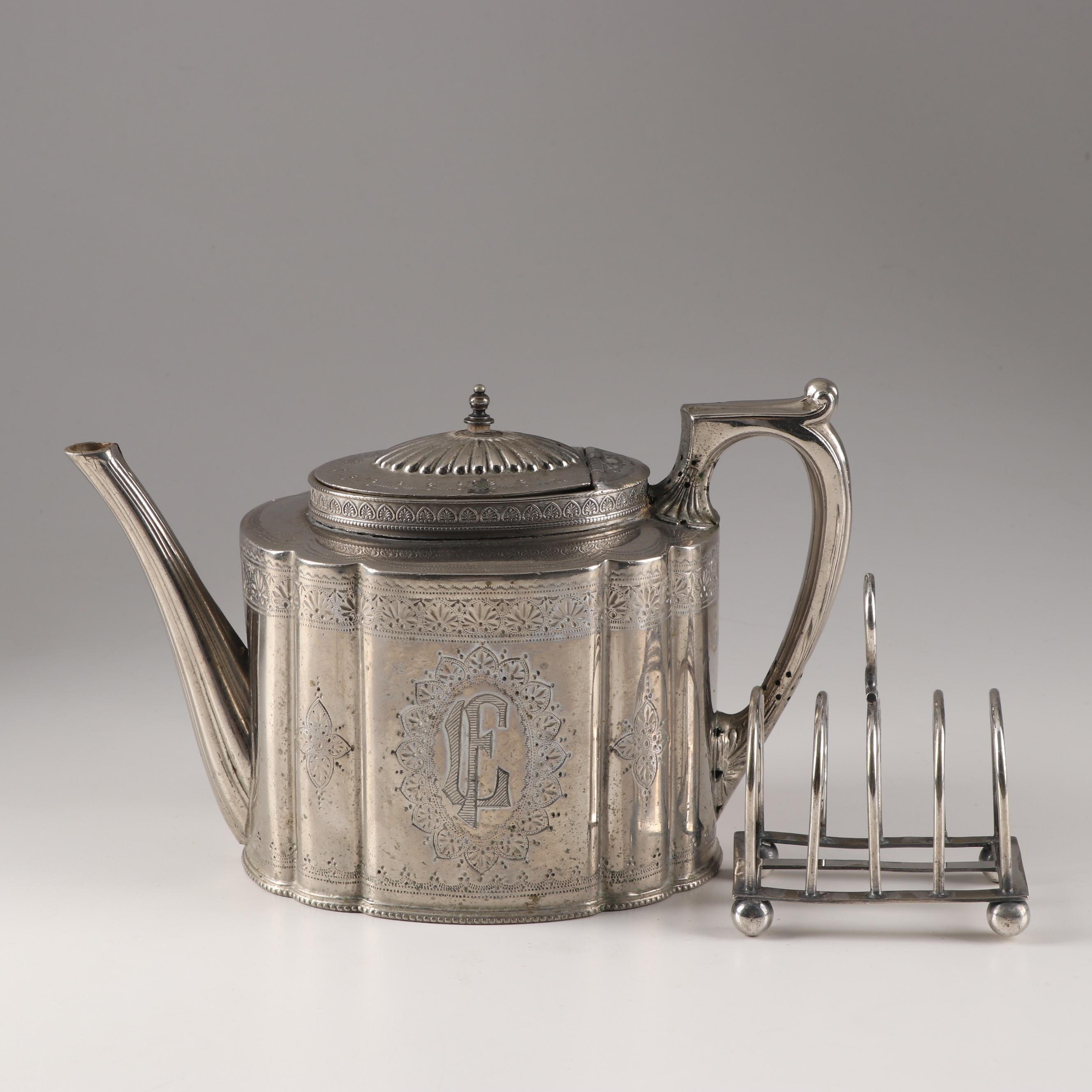 Walker & Hall Silver-Plated Teapot with Barker Brothers Toast Rack
