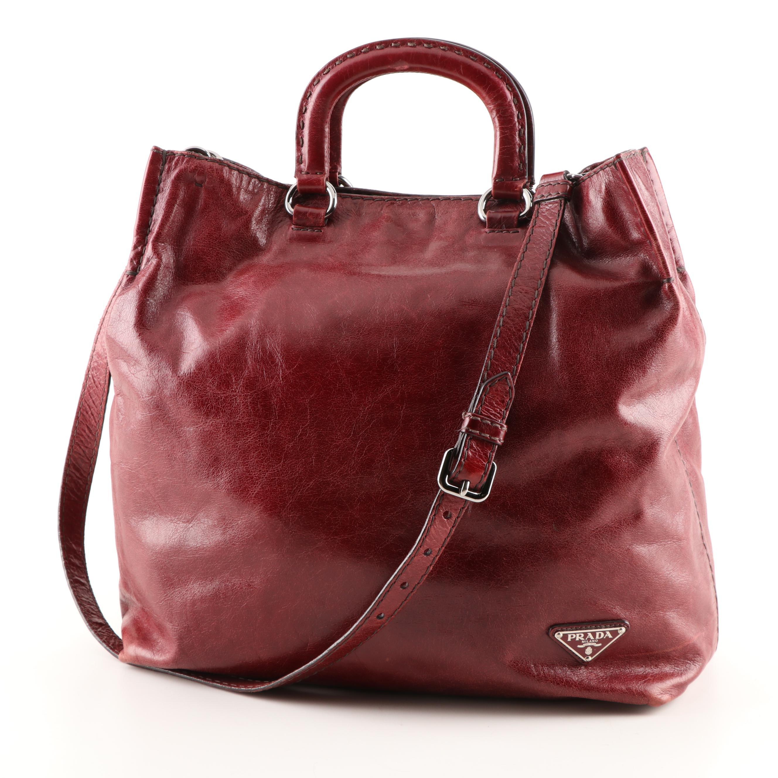 Prada Milano Dark Cabernet Leather Tote Handbag