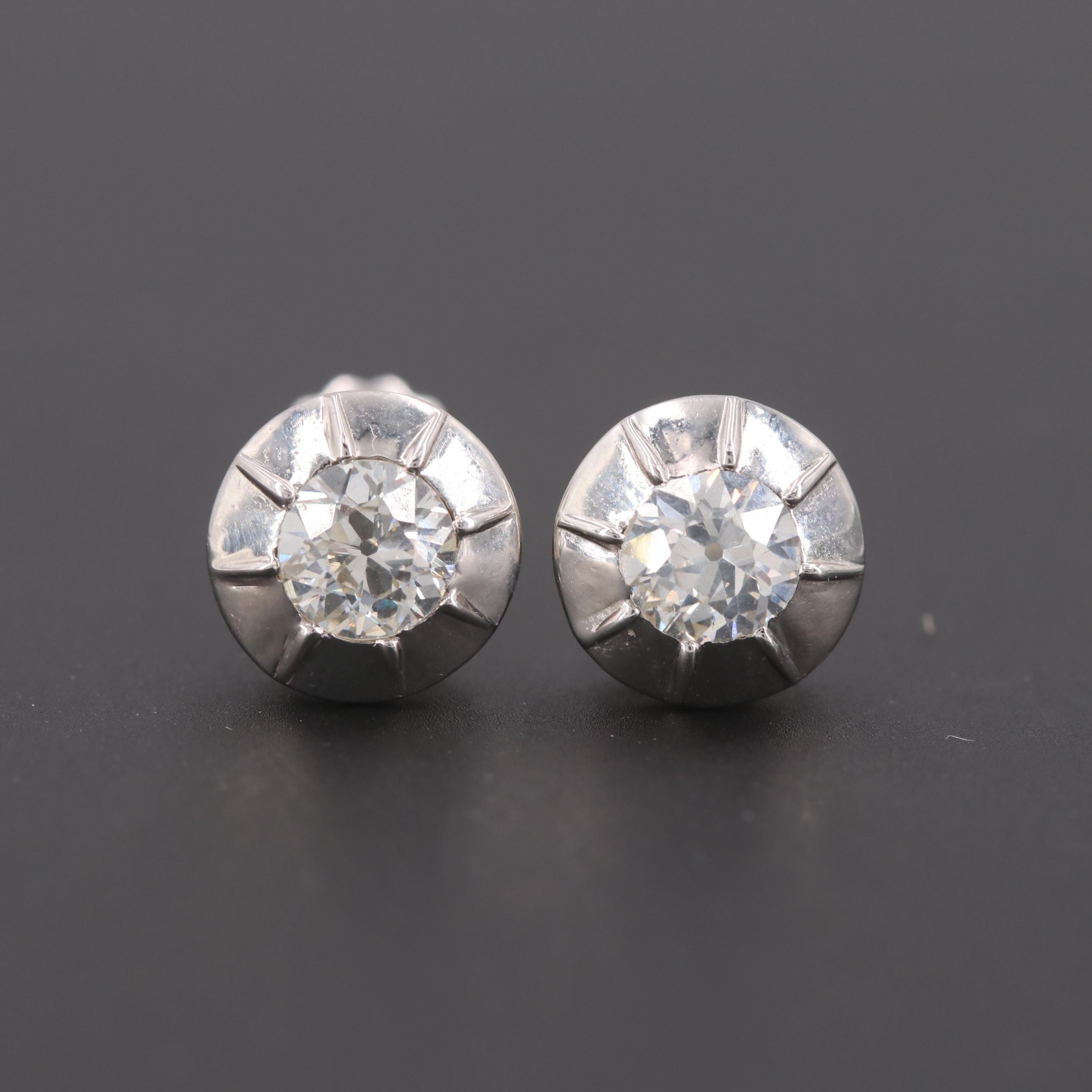 Platinum 1.00 CTW Diamond Stud Earrings