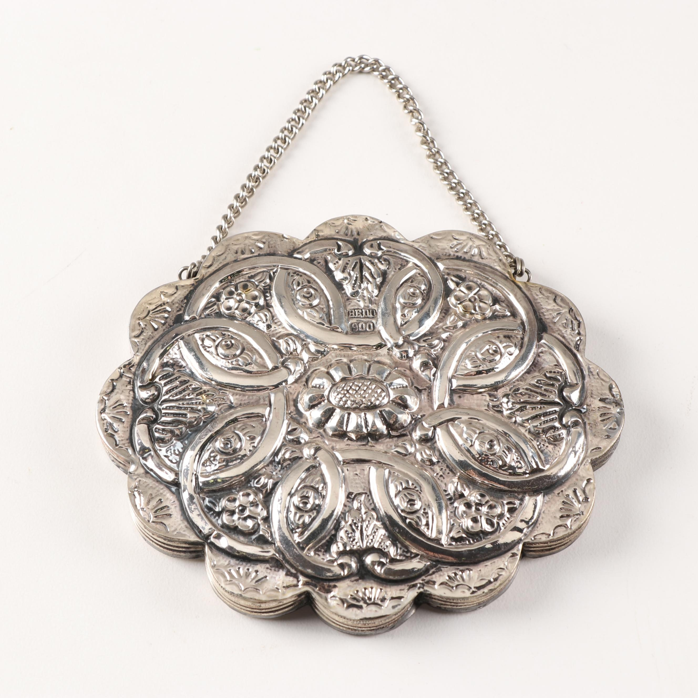 Bedo Turkish Repoussé 900 Silver Compact Mirror