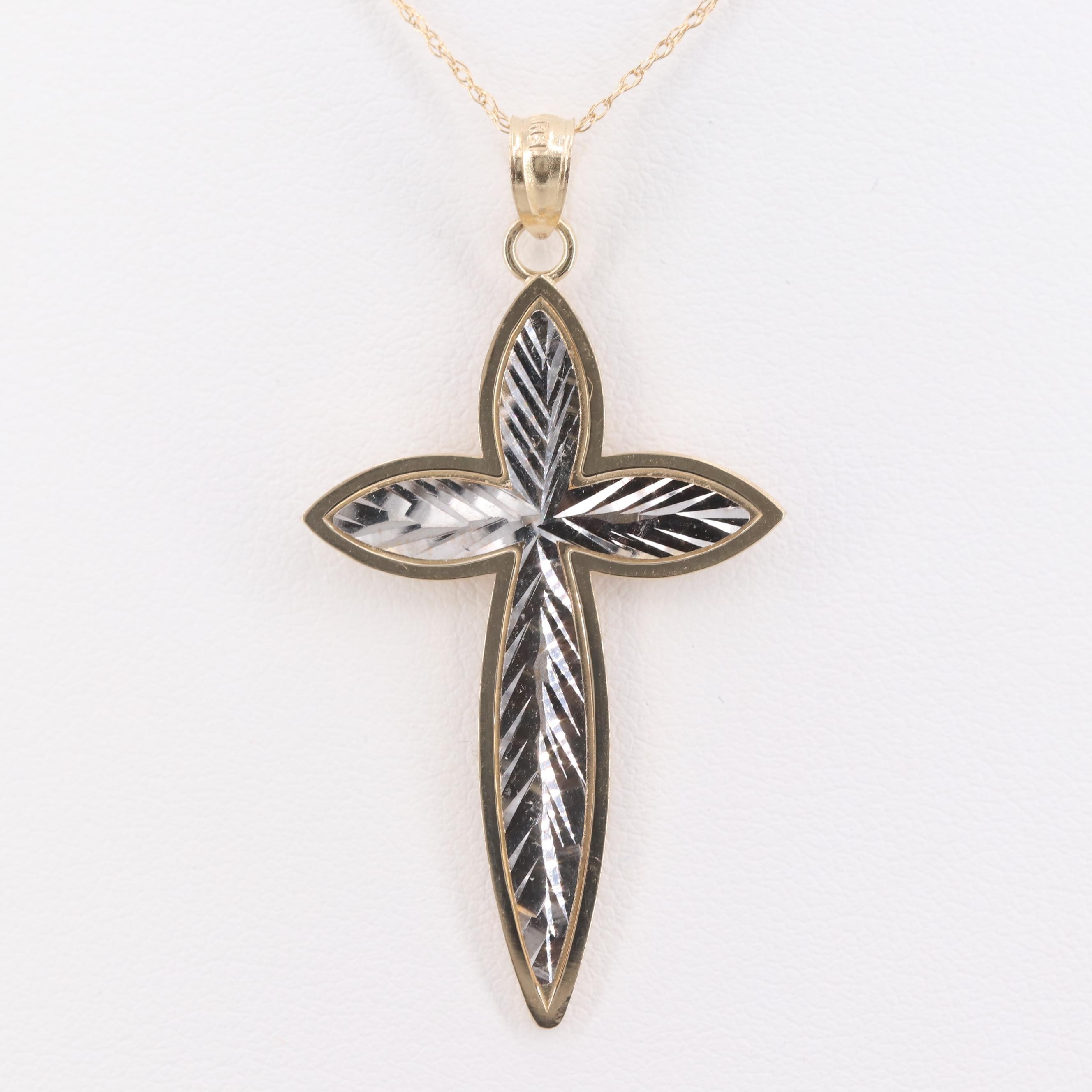 14K White and Yellow Gold Cross Pendant