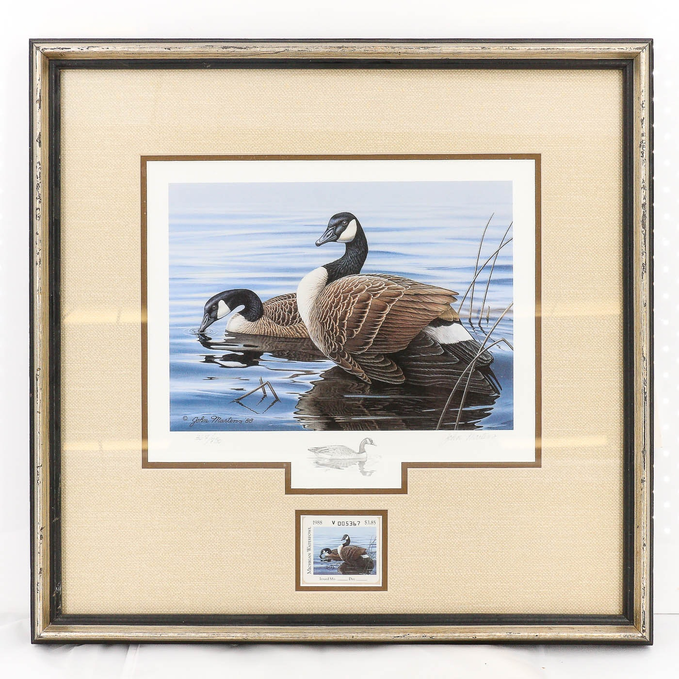 John Martens Michigan Geese Offset Lithograph and Stamp