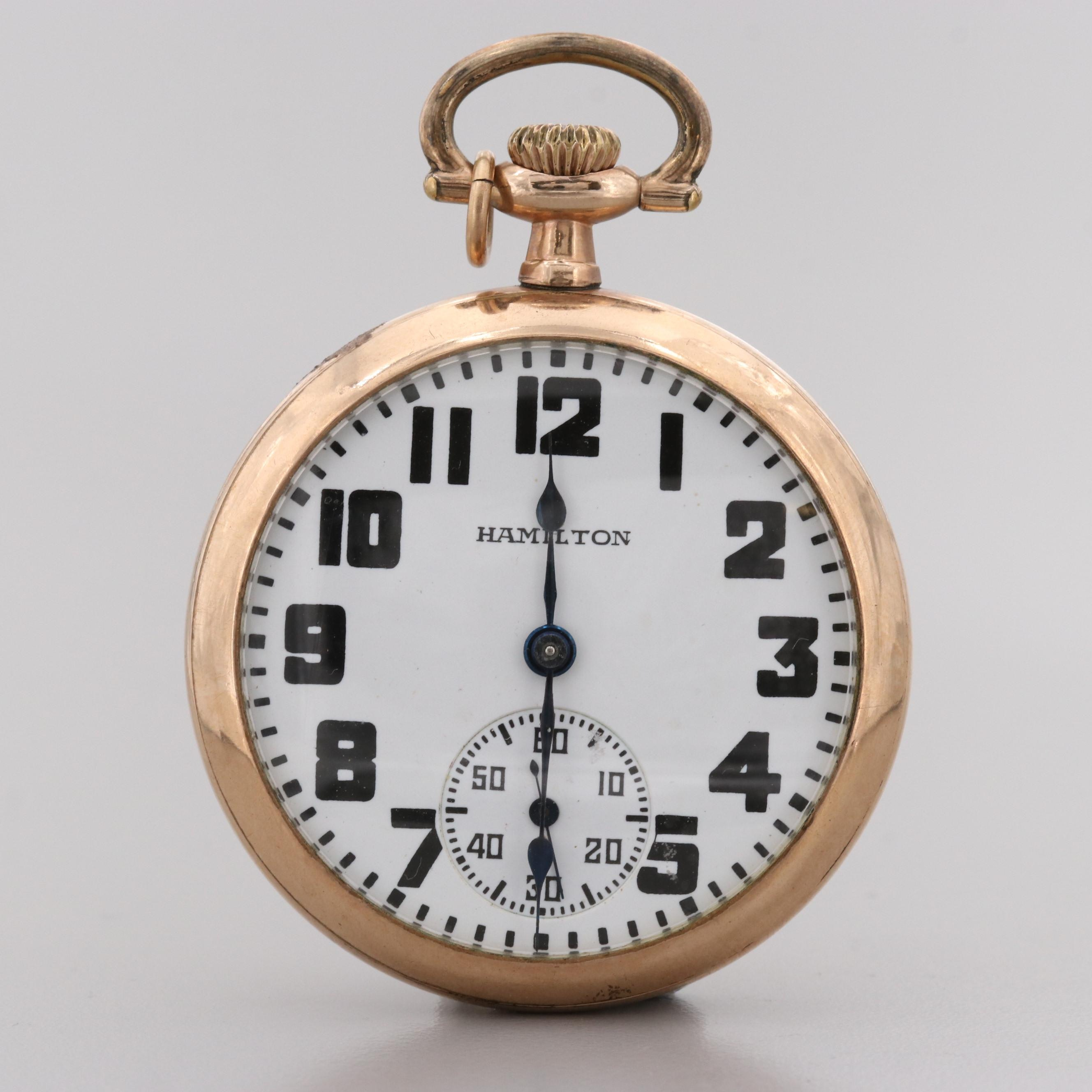 Hamilton Railroad Grade Gold Filled Pocket Watch, 1915
