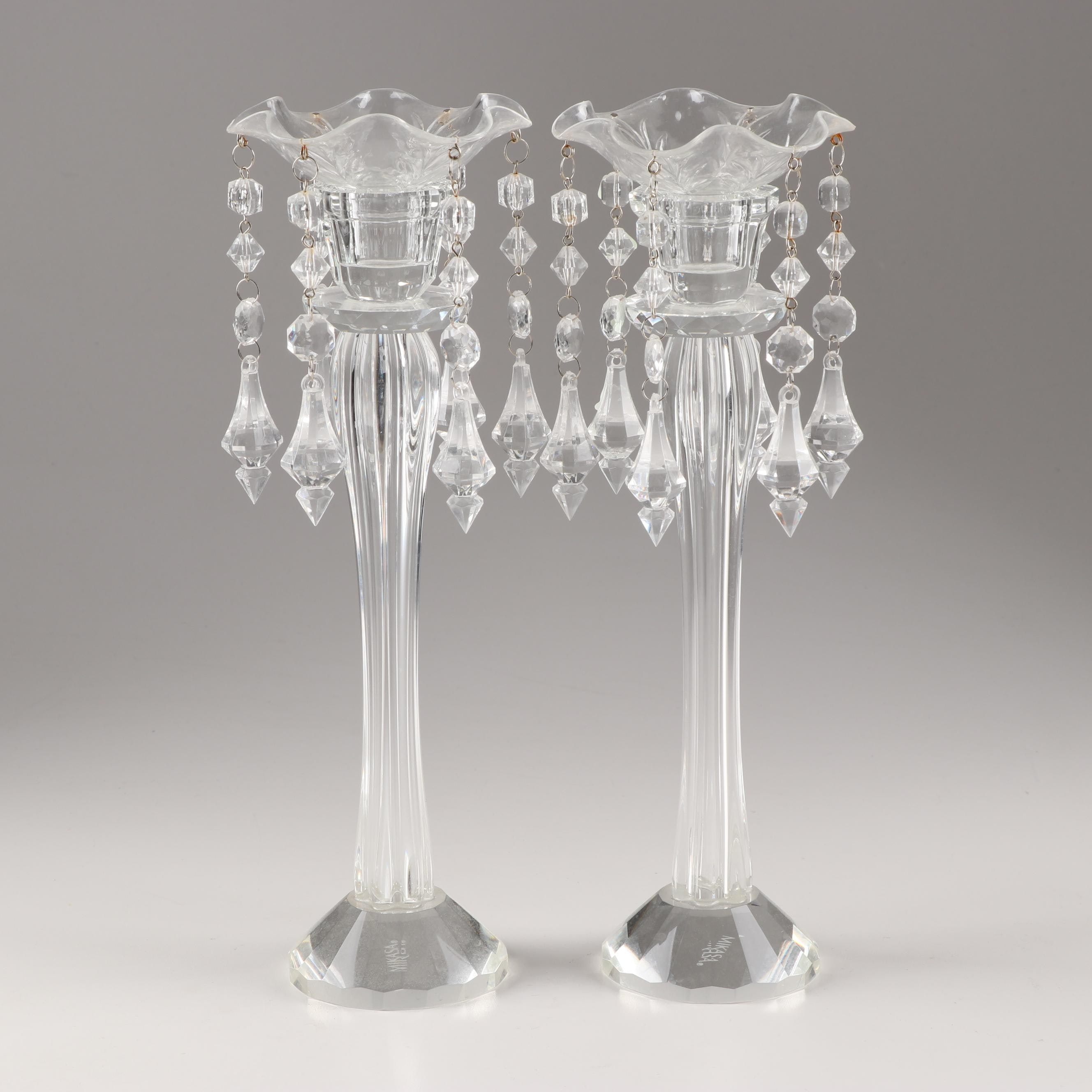 Mikasa Crystal Candlesticks with Hanging Prisms