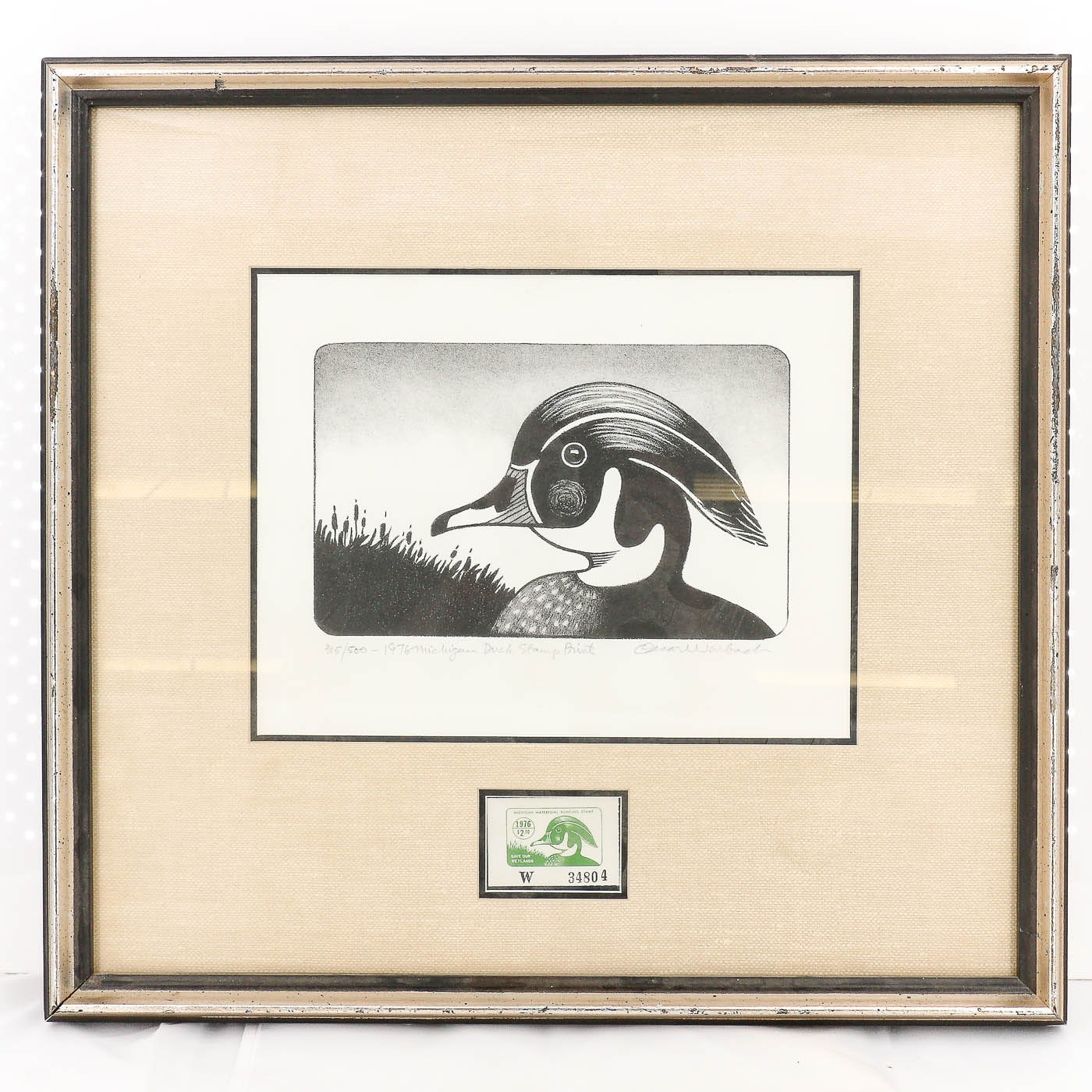 Oscar Warbach Michigan Duck Stamp Lithograph and Stamp