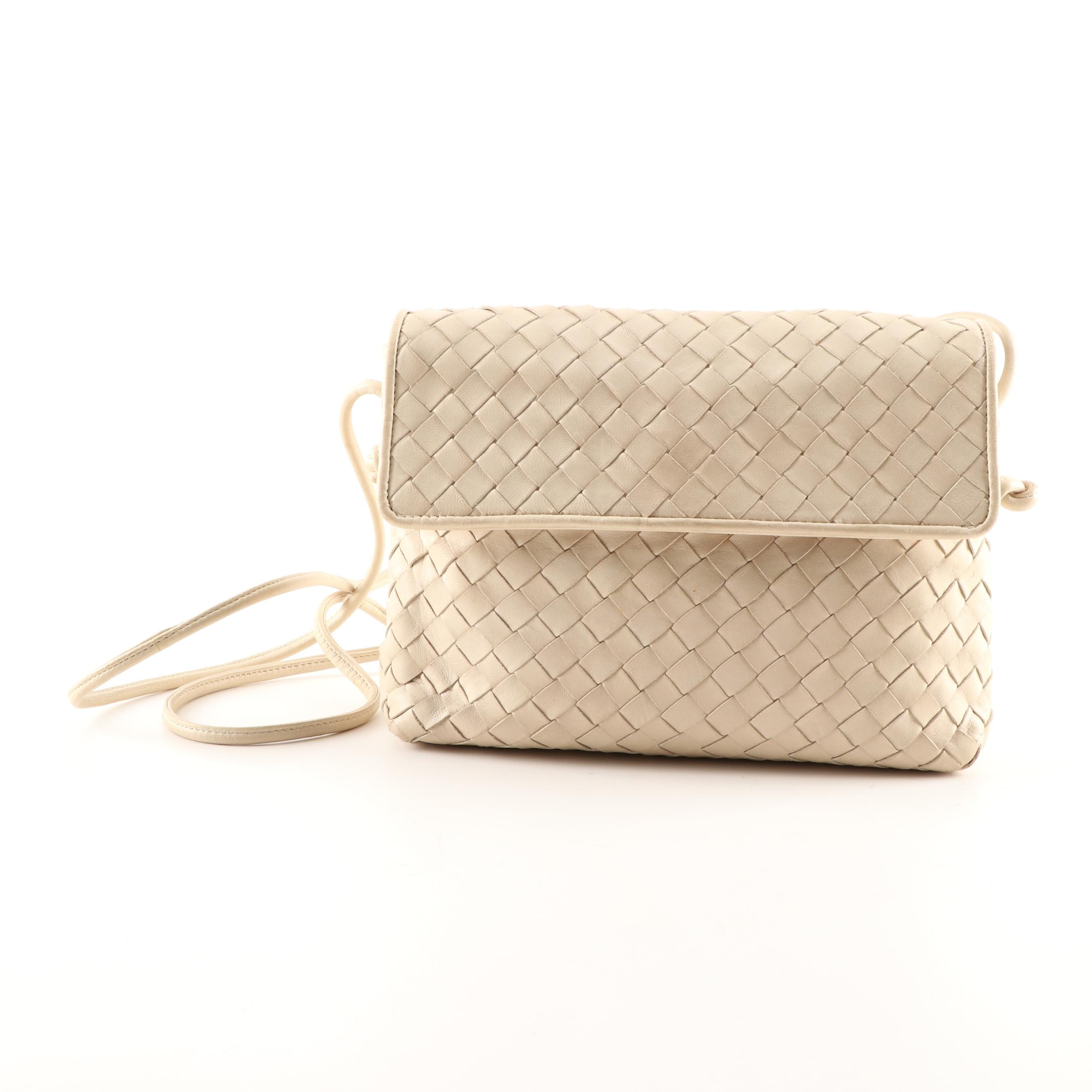 Bottega Veneta Beige Intrecciato Woven Leather Crossbody Bag, Made in Italy