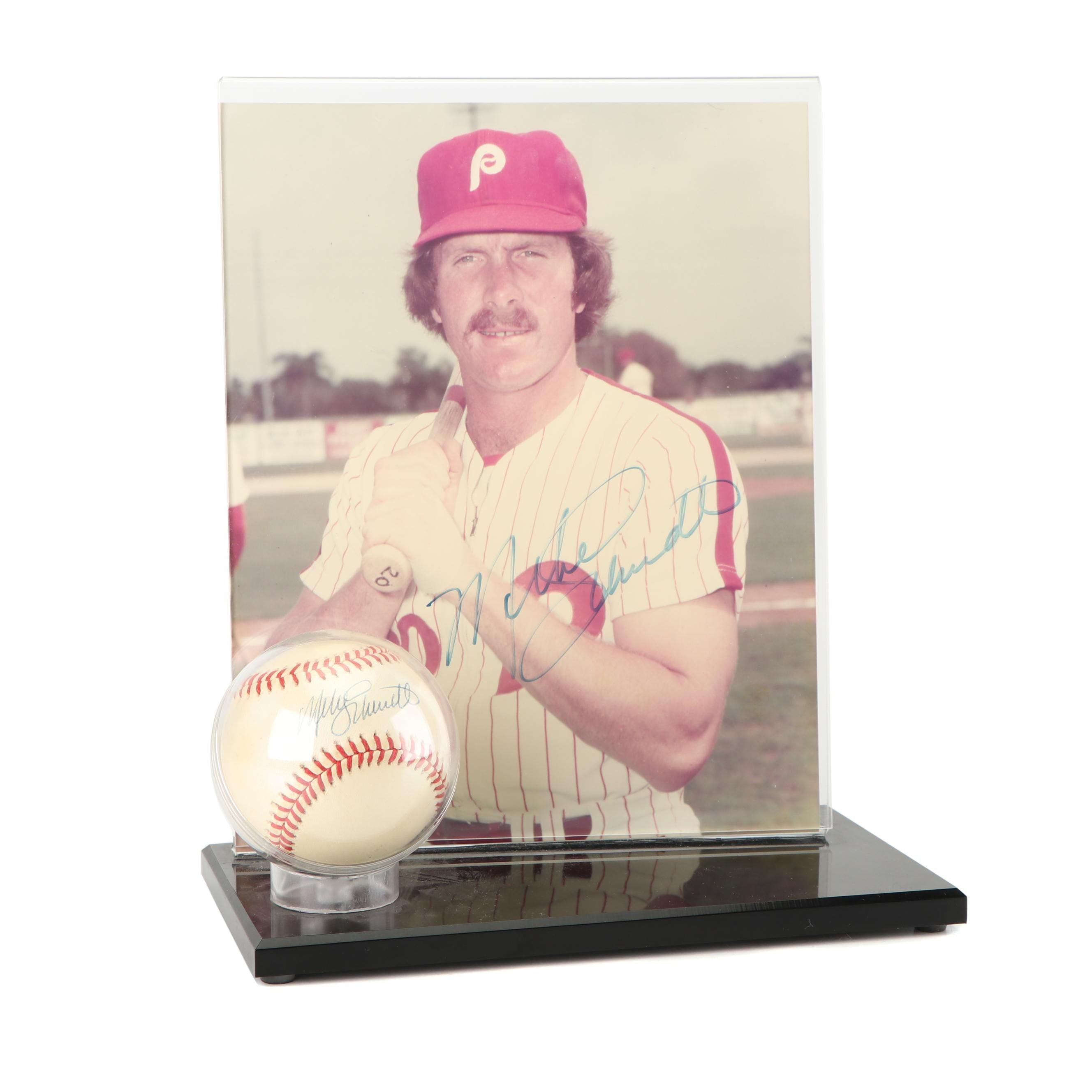Mike Schmidt Autographed Baseball and Photograph