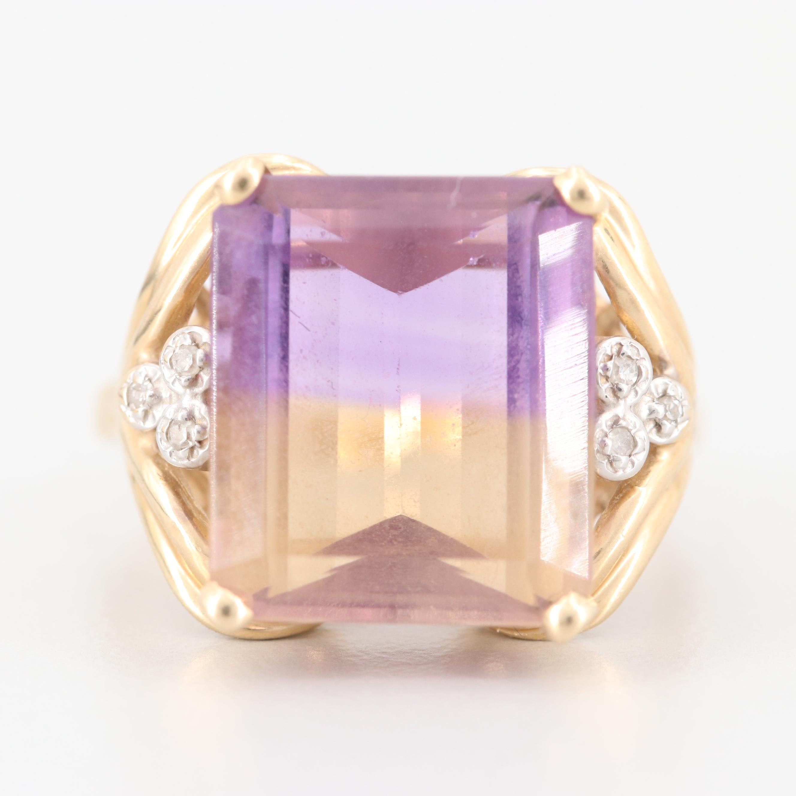 14K Yellow Gold 8.85 CT Ametrine and Diamond Ring