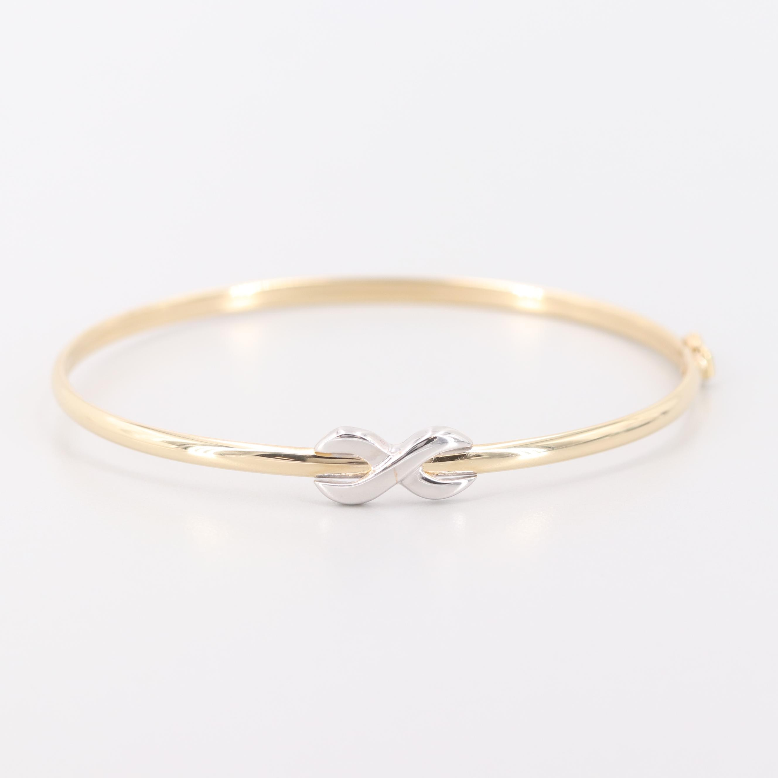 14K Yellow Gold Bangle Bracelet with White Gold Accent