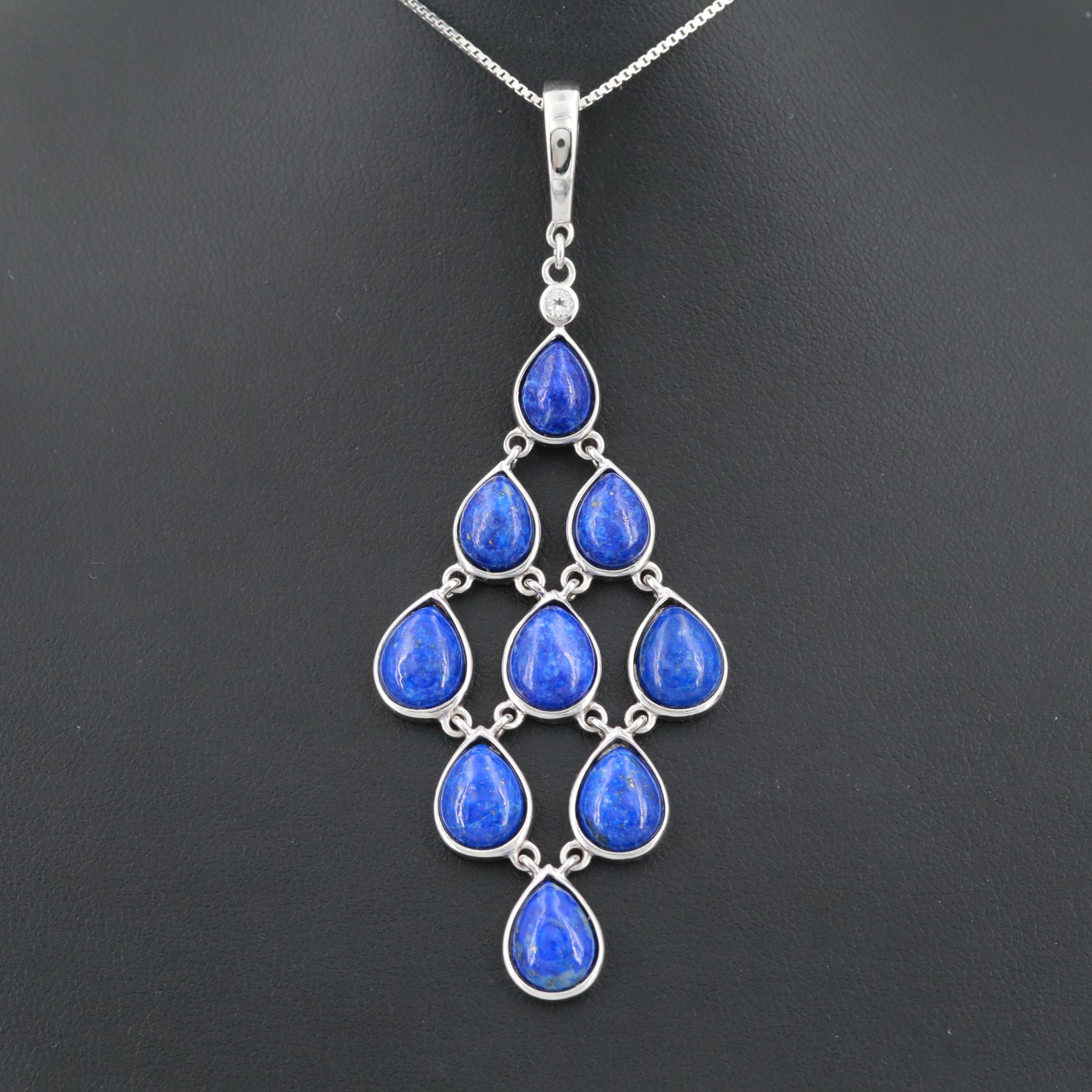 Sterling Silver Lapis Lazuli and White Topaz Enhancer Pendant Necklace