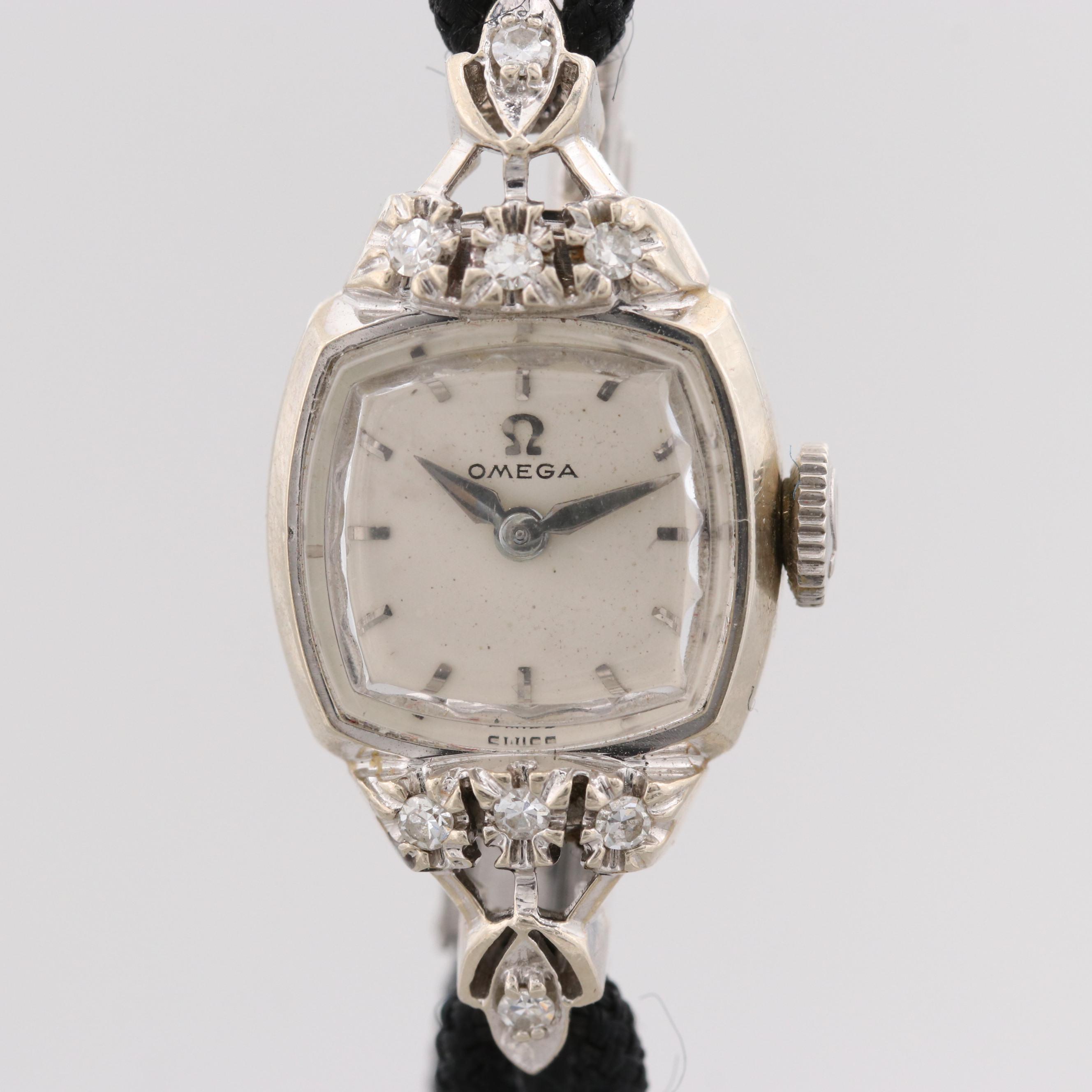 Vintage Omega 14K White Gold Diamond Wristwatch