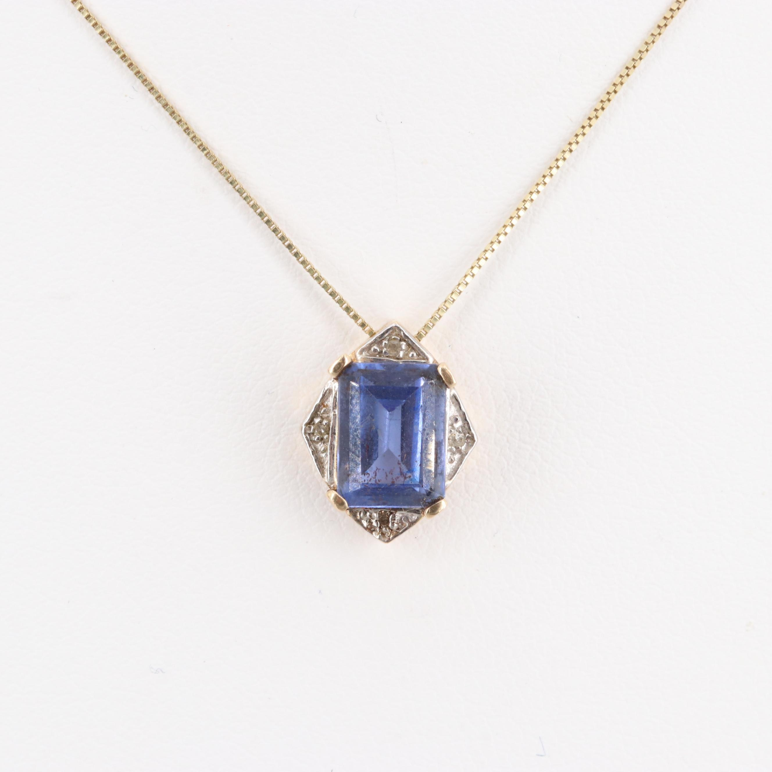 10K Yellow Gold Glass and Diamond Pendant Necklace