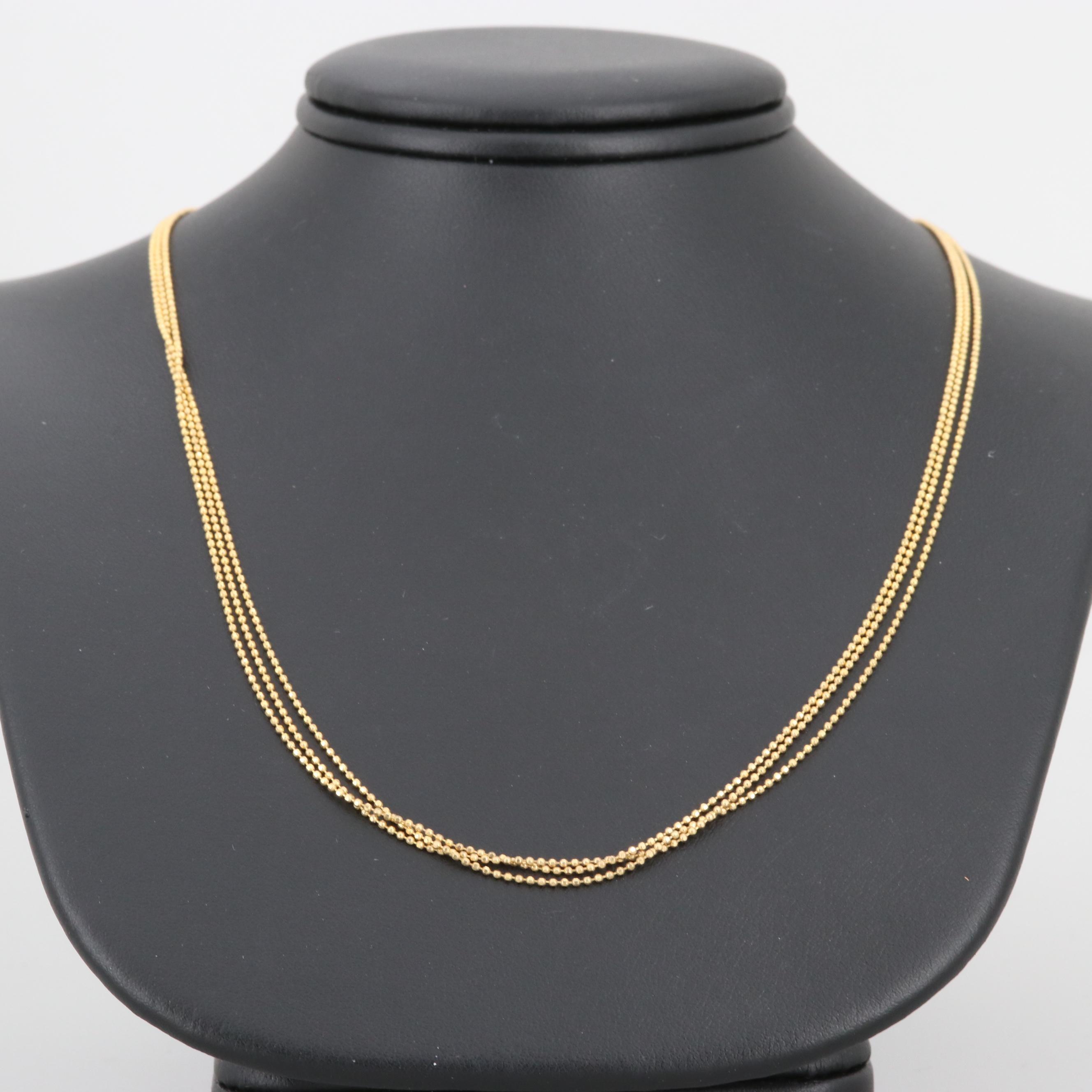 14K Yellow Gold Triple Strand Beaded Chain