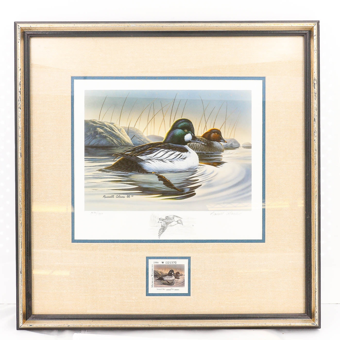 Russell Cobane Michigan Duck Stamp Offset Lithograph and Stamp