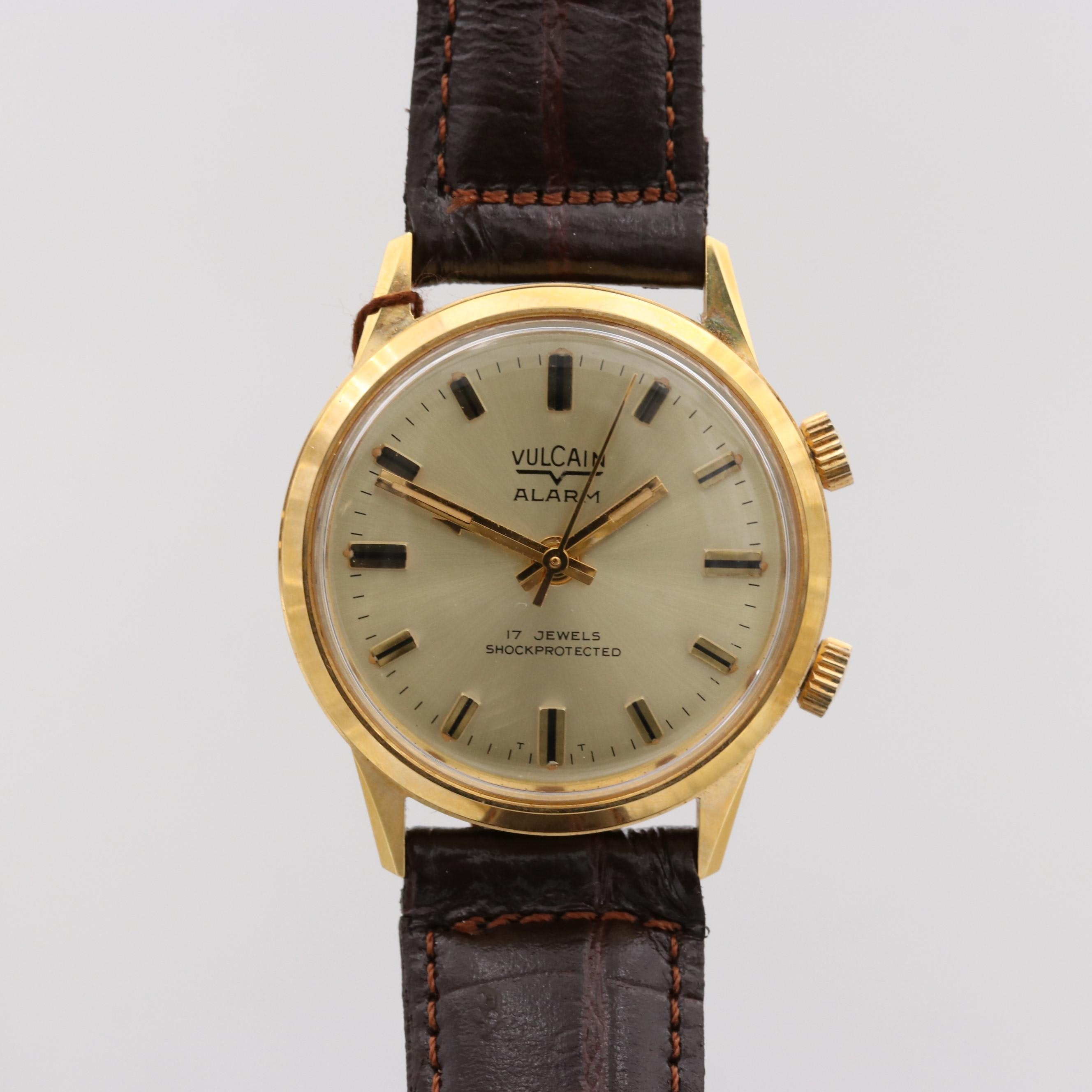 Vintage Vulcain Alarm Gold Tone Stem Wind Wristwatch